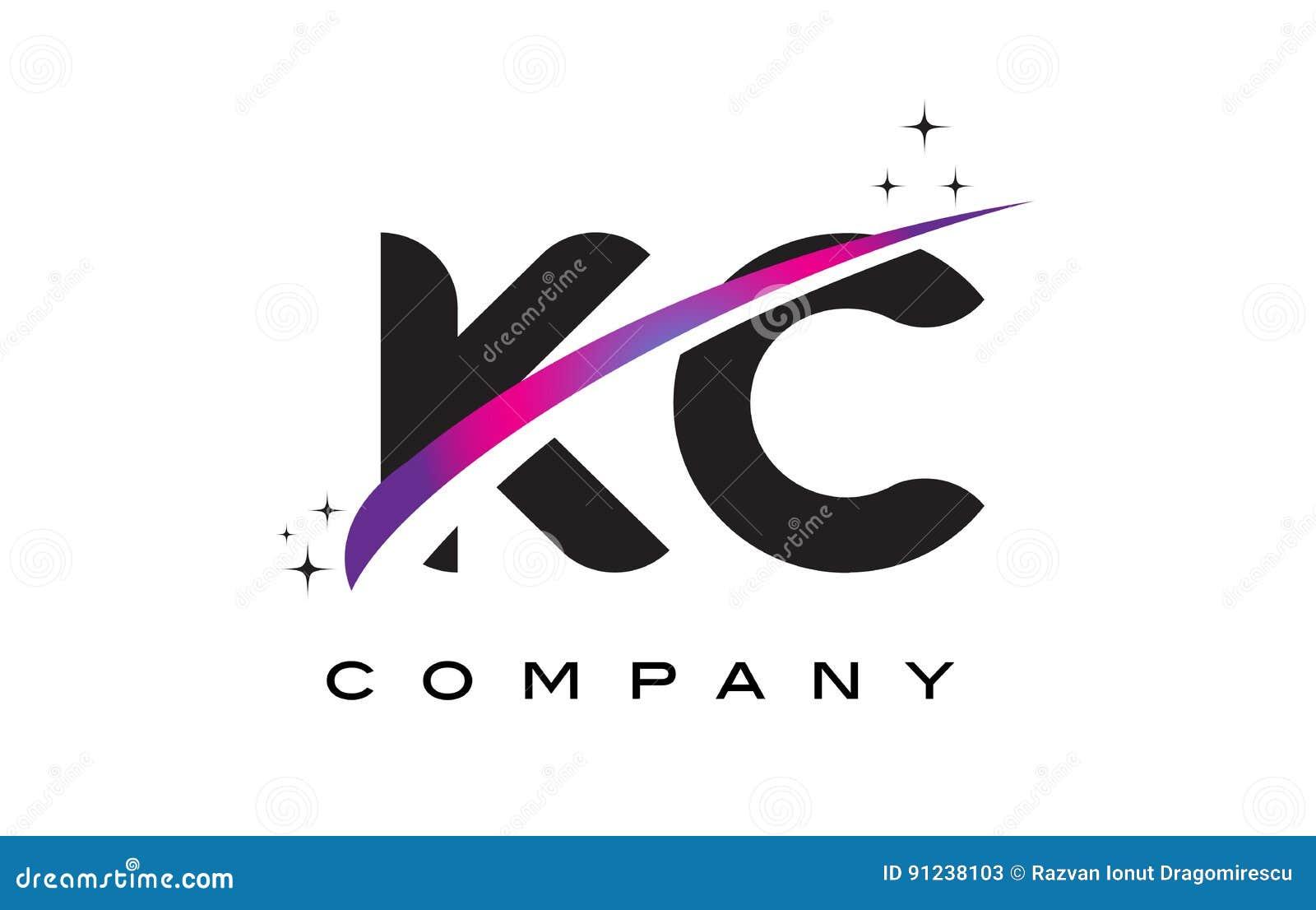 kc k c black letter logo design with purple magenta swoosh