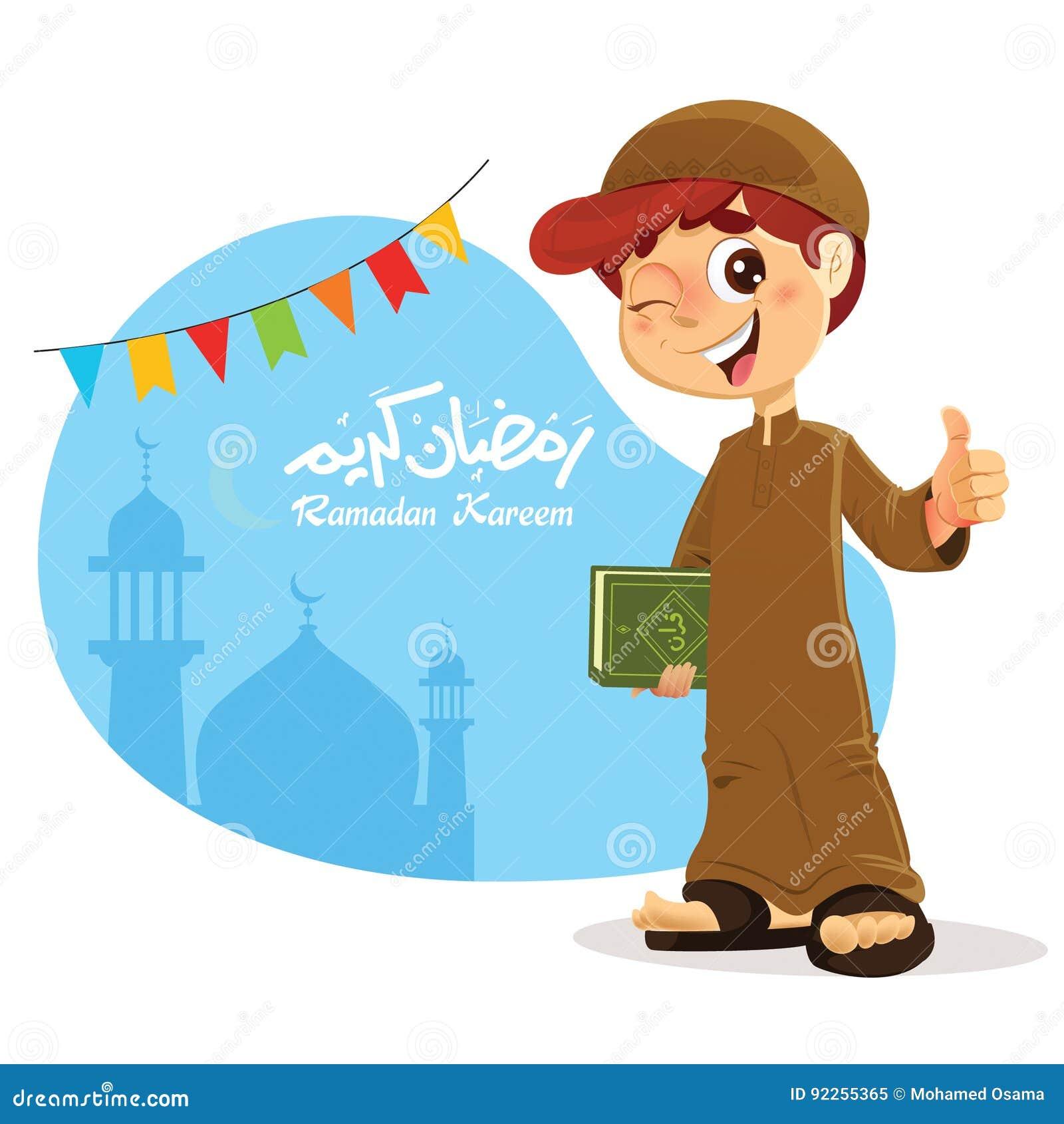 Kciuk W górę Młodej Muzułmańskiej chłopiec mienia koranu książki