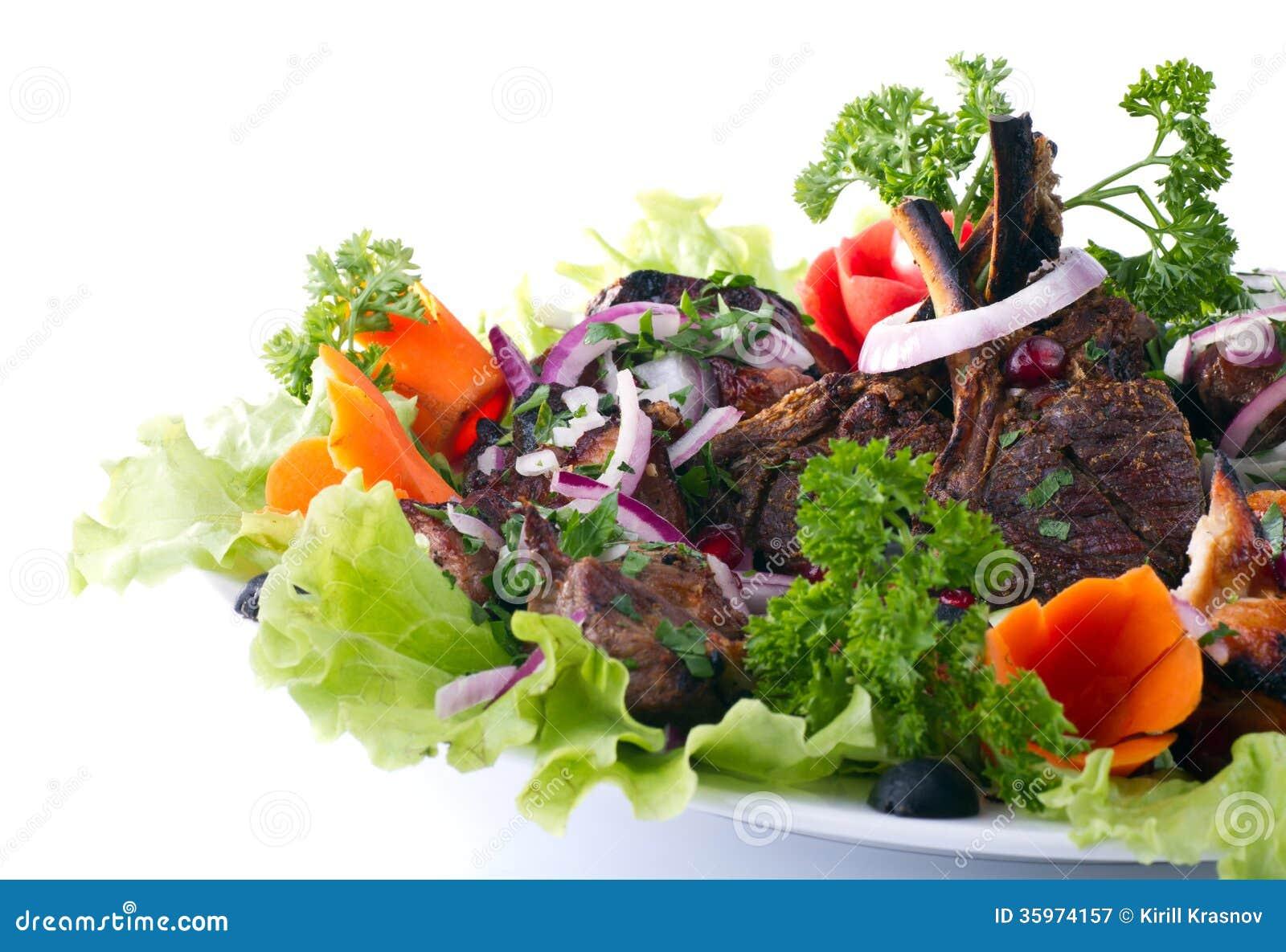 Kebab con las verduras