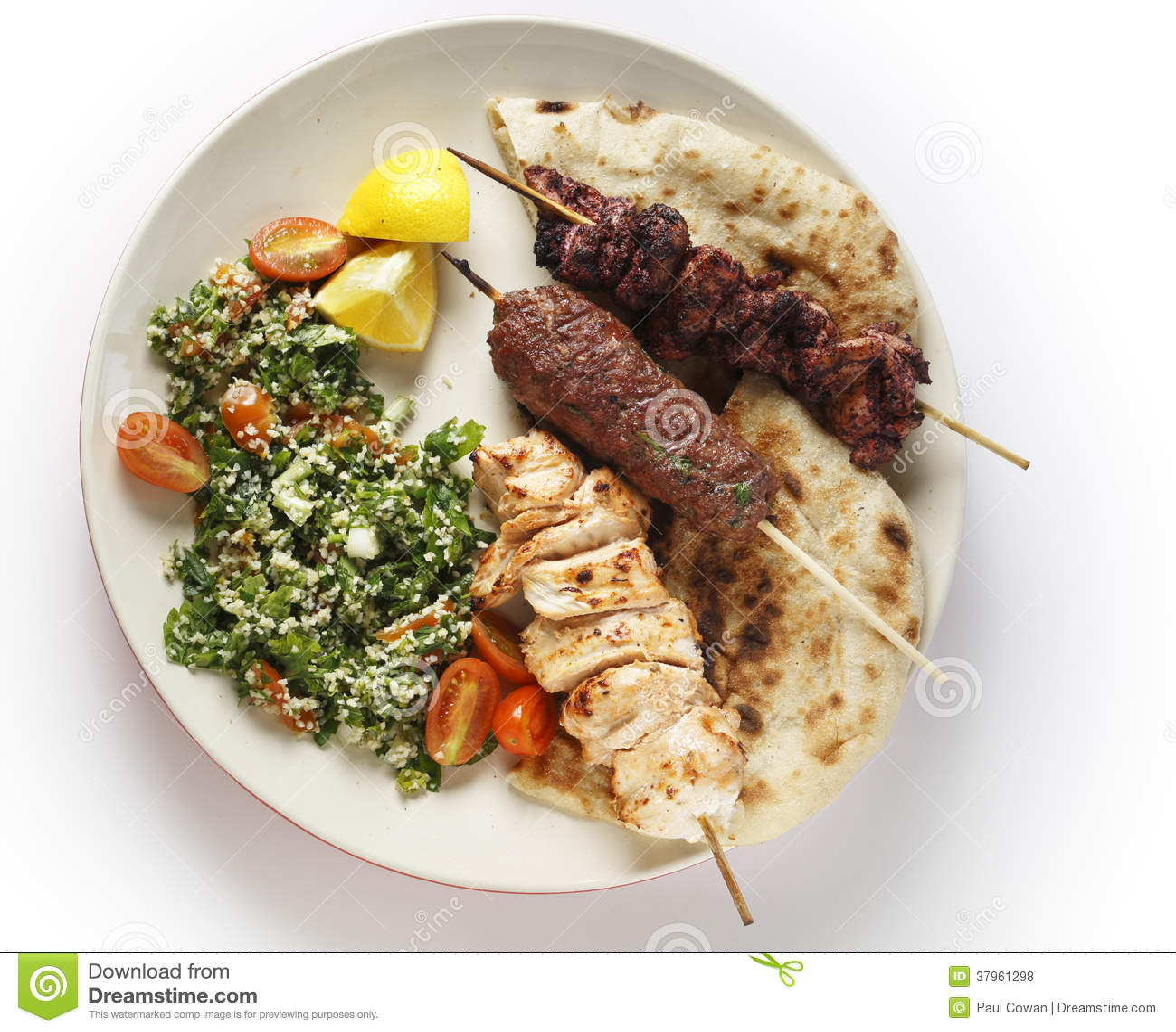 Kebab tabouleh bbq van hierboven