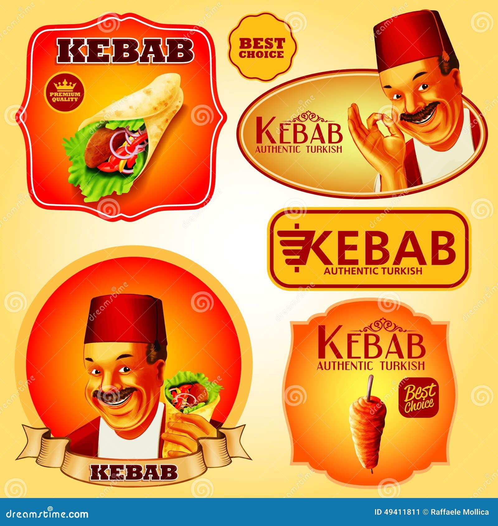 Download Kebabaufkleber vektor abbildung. Illustration von braun - 49411811