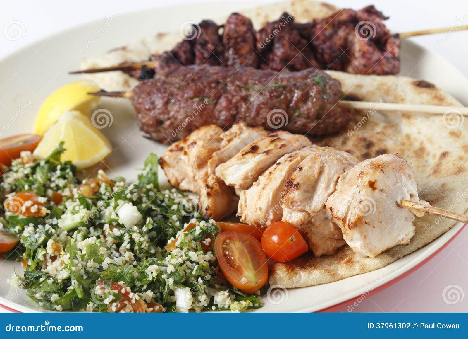 Kebabebbq maaltijdclose-up
