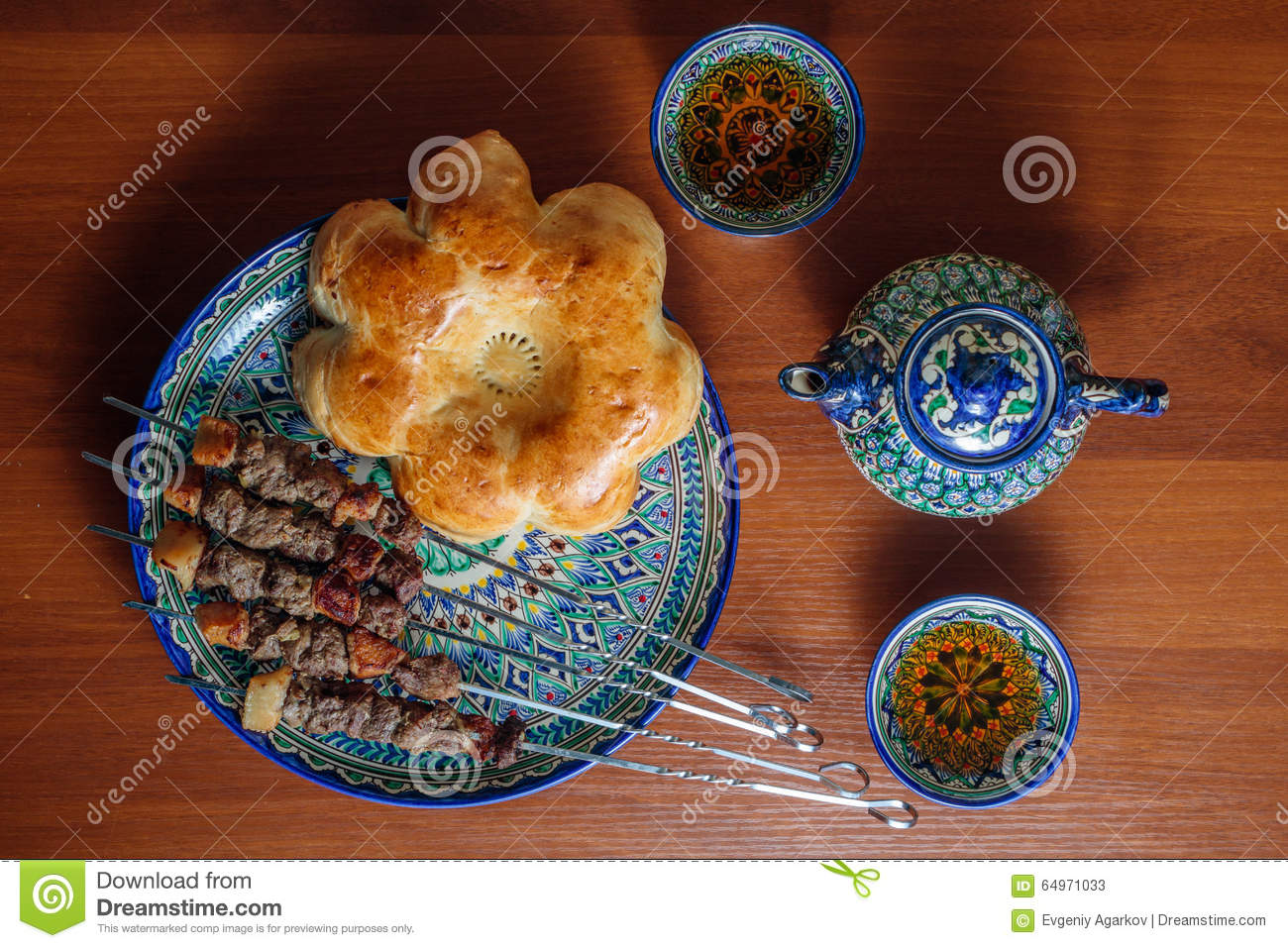 Kebabs and asian bread on a ceramic dish