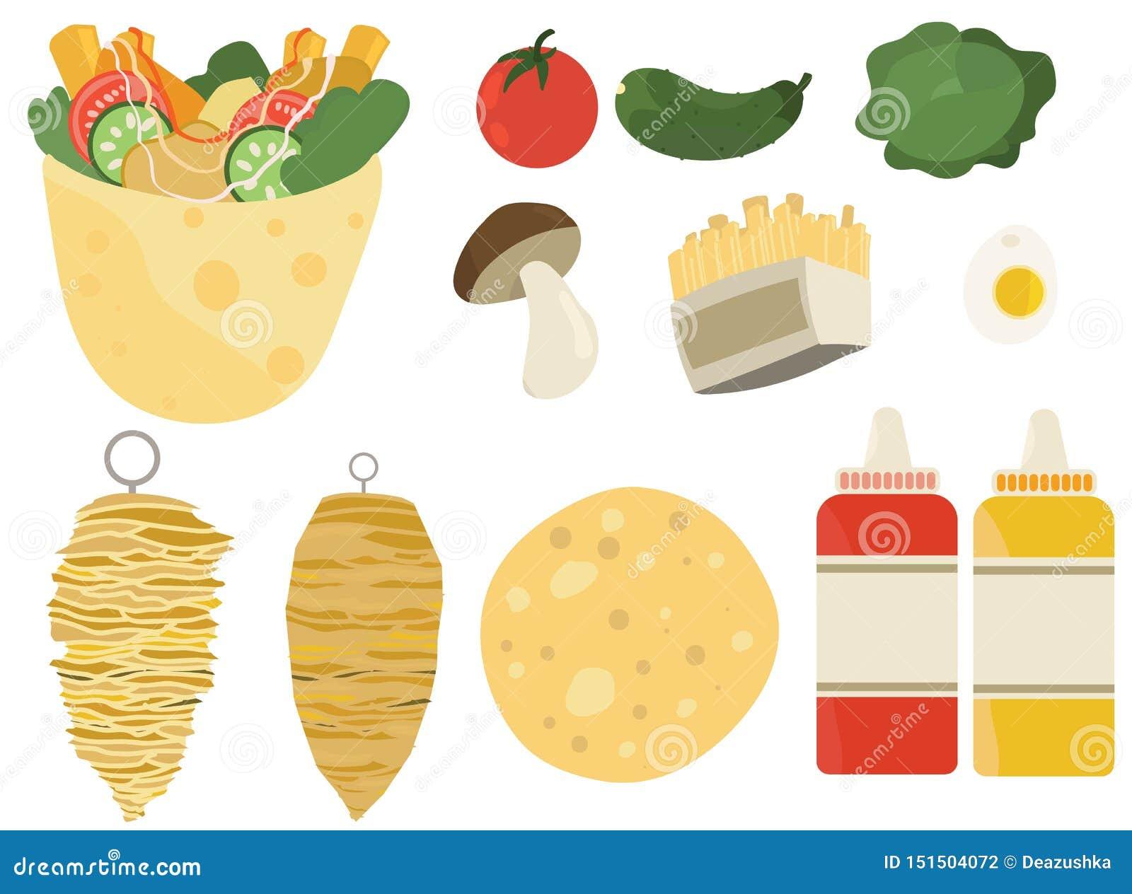 Kebabu doner ustalonego koloru fasta food ilustracji przepisu płascy składniki