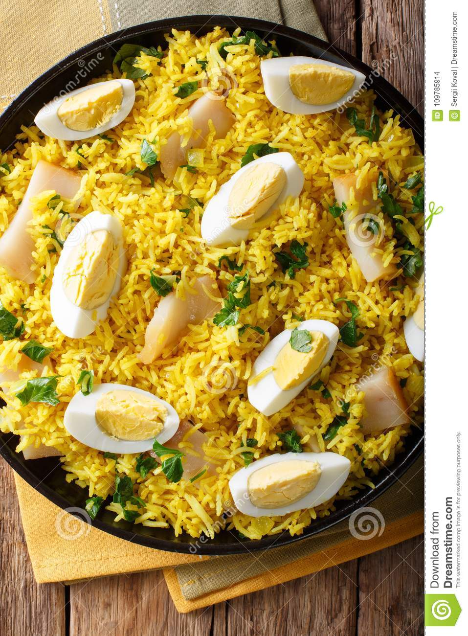 Kedgeree With Smoked Fish, Eggs And Spices Close-up