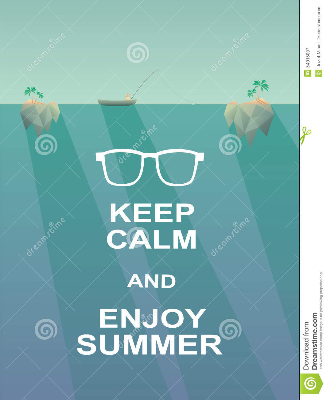 Keep Calm And Enjoy Summer Motivational Poster Stock Vector - Image: 54015007