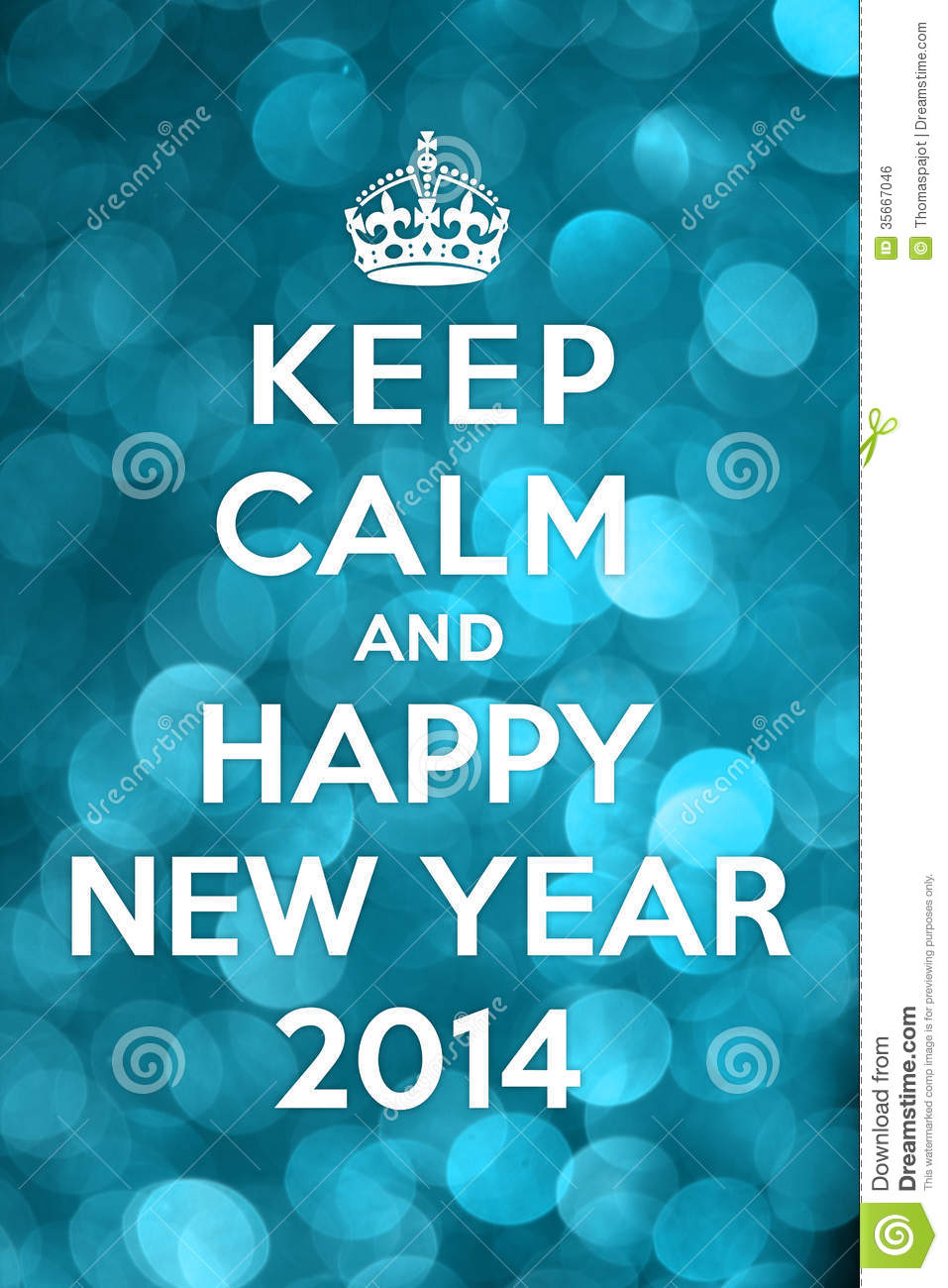 Keep Calm And Happy New Year 2014 Stock Photo