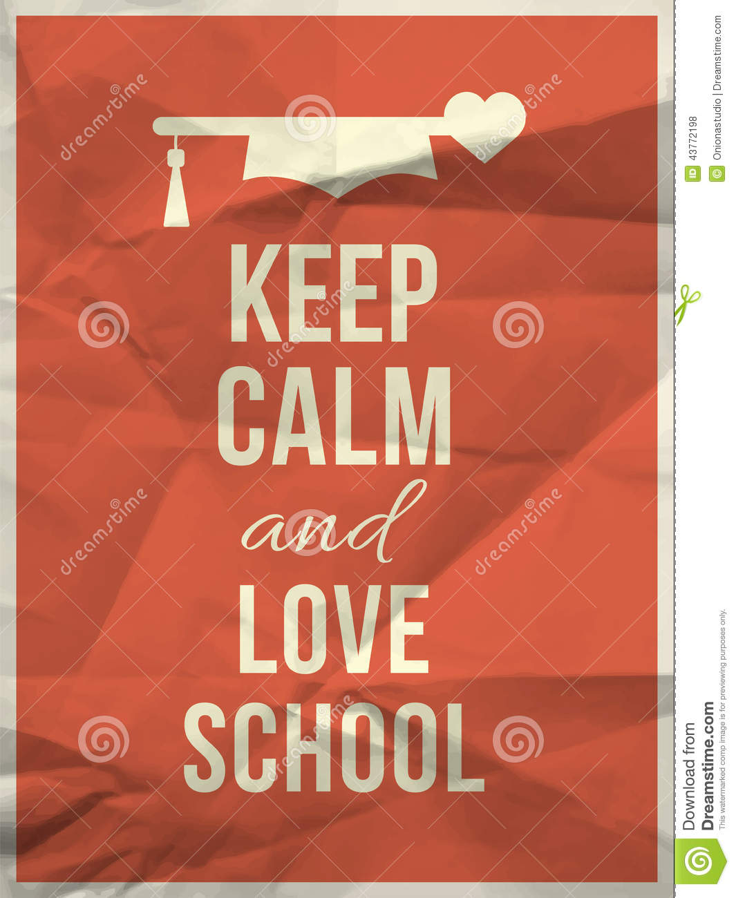 Keep Calm Love School Design Quote With Graduation Hat Hearth Stock