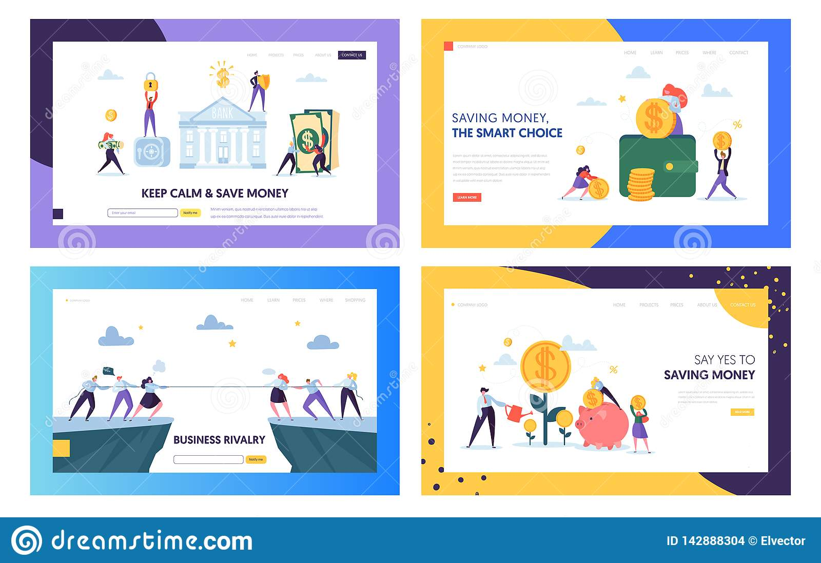 Keep Calm and Save Money Landing Page Set. Smart Choice in Business Rivalry, Earning and Keeping Capital for Company
