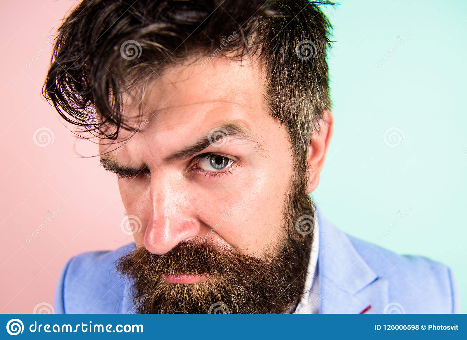 Keep Hair Tidy And Care About Hairstyle Man Bearded Hipster On