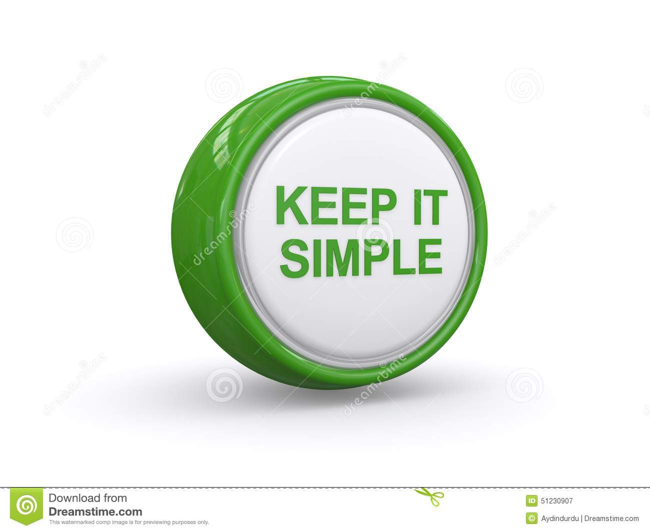 Keep in simple written on large green and white button on white ...