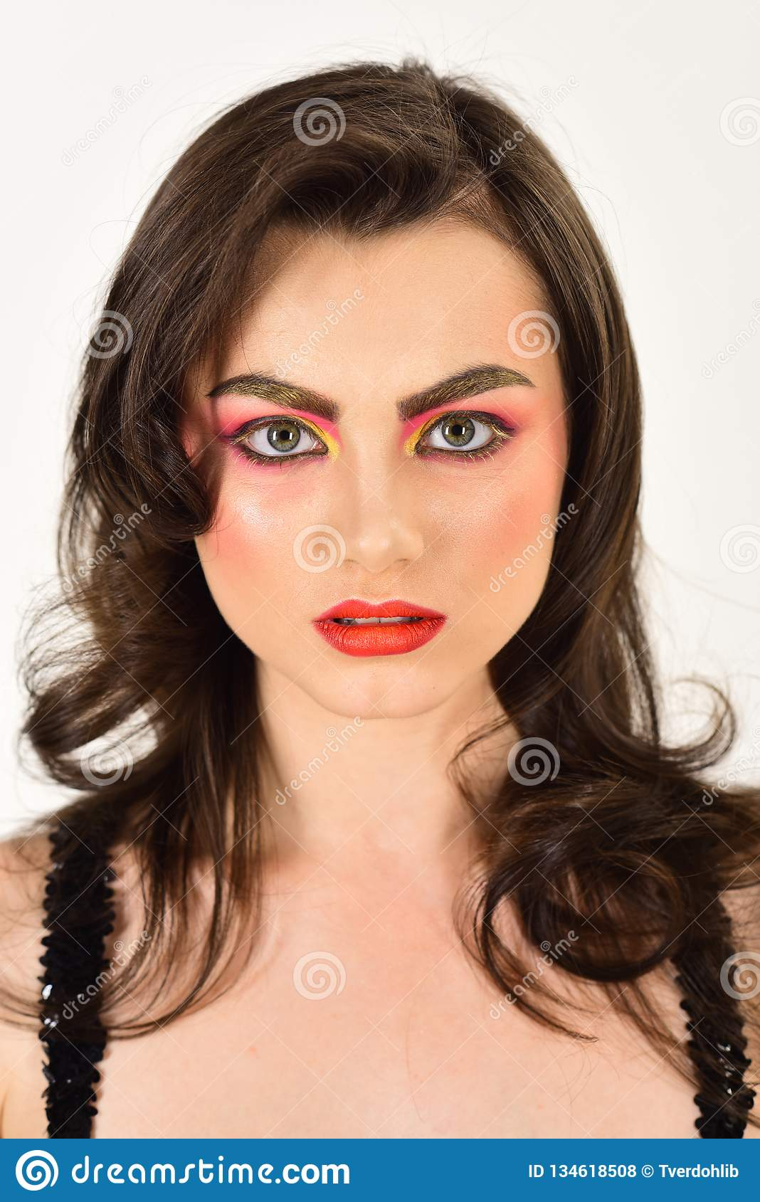 Keeping skin both radiant and fresh. Pretty woman wear creative makeup. woman with color cosmetics. Beauty model