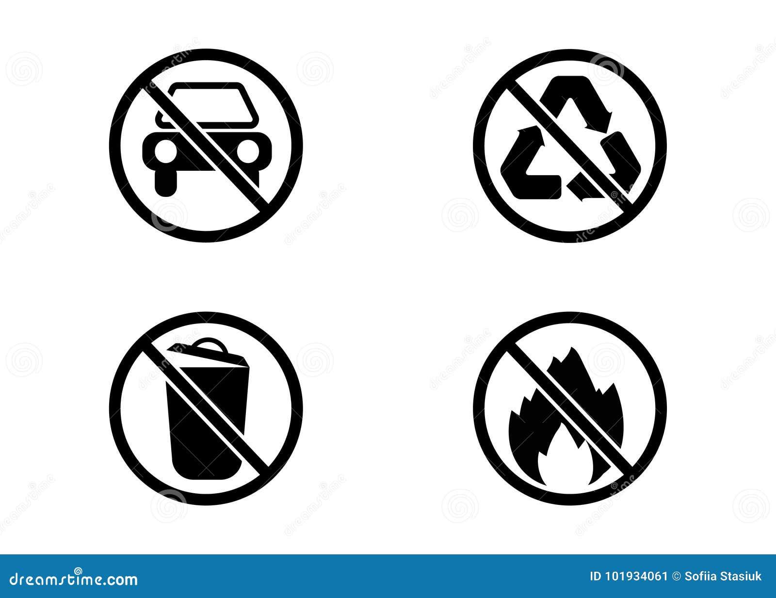 Kein Auto, kein Abfall, keine Wiederverwertung und keine Feuervektorzeichen
