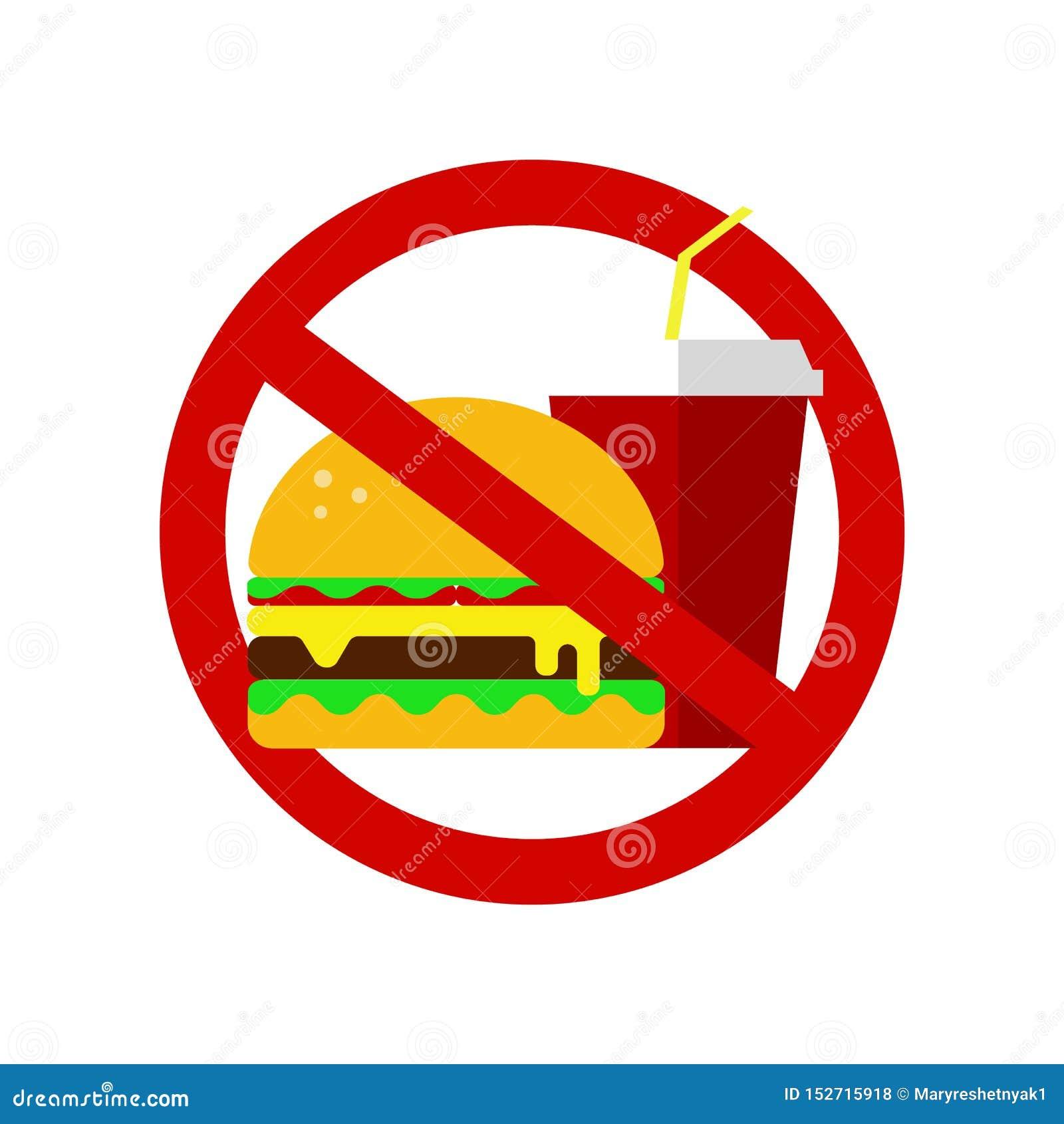 Kein Fastfoodzeichen verbotener Hamburger und Kolabaum Richtige Nahrung, Nahrungsmittelgesundheitswesen Ungesunde Produkte, Ikone