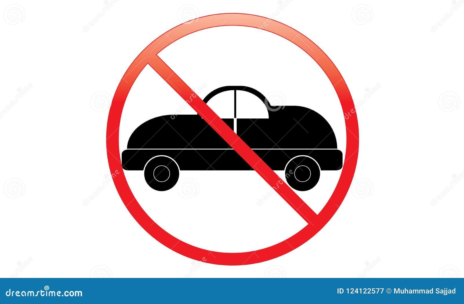 Keine Auto-Ikone - Parkverbot Van Symbol - kein reisendes Fahrzeug - Parkverbot-Automobilikone, lokalisiert Flaches Design