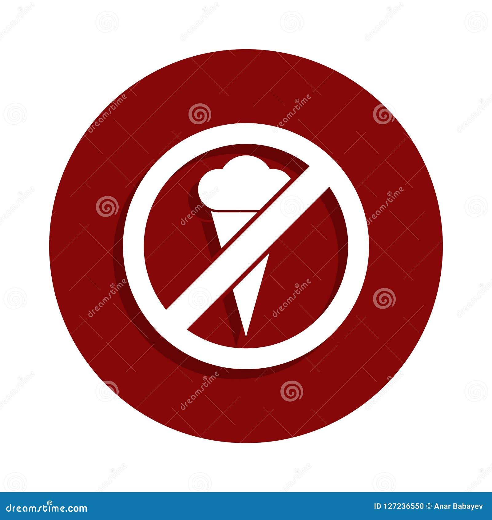Keine Eiscreme, verbotene Zeichenikone in der Ausweisart Ein der Abnahmesammlungsikone kann für UI, UX verwendet werden