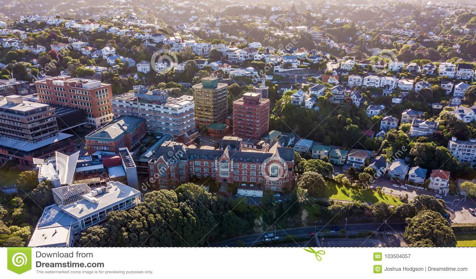 Kelburn Campus Victoria University Aerial View Stock Image Image