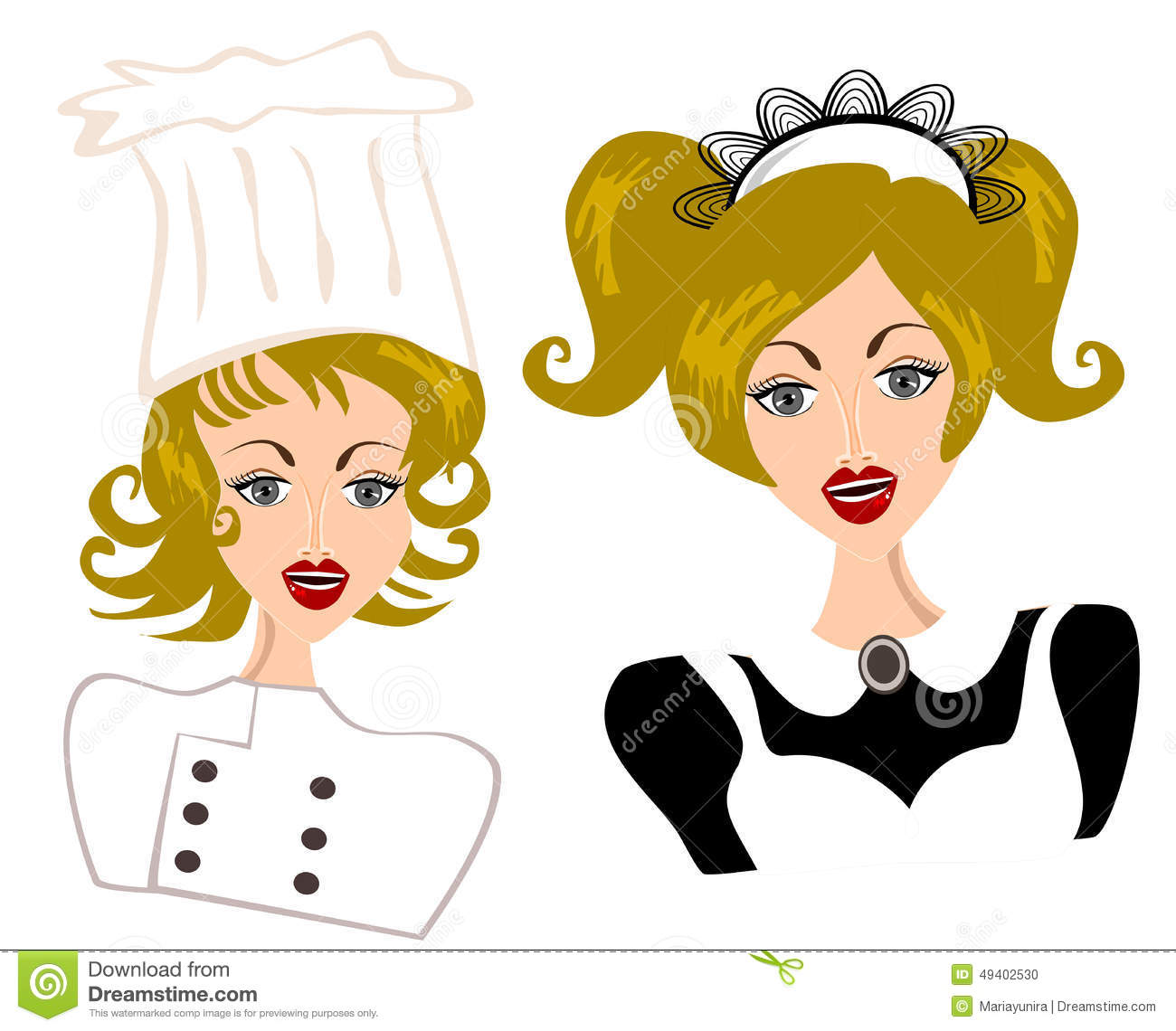 Download Kellnerin und Chef Concept vektor abbildung. Illustration von uniform - 49402530