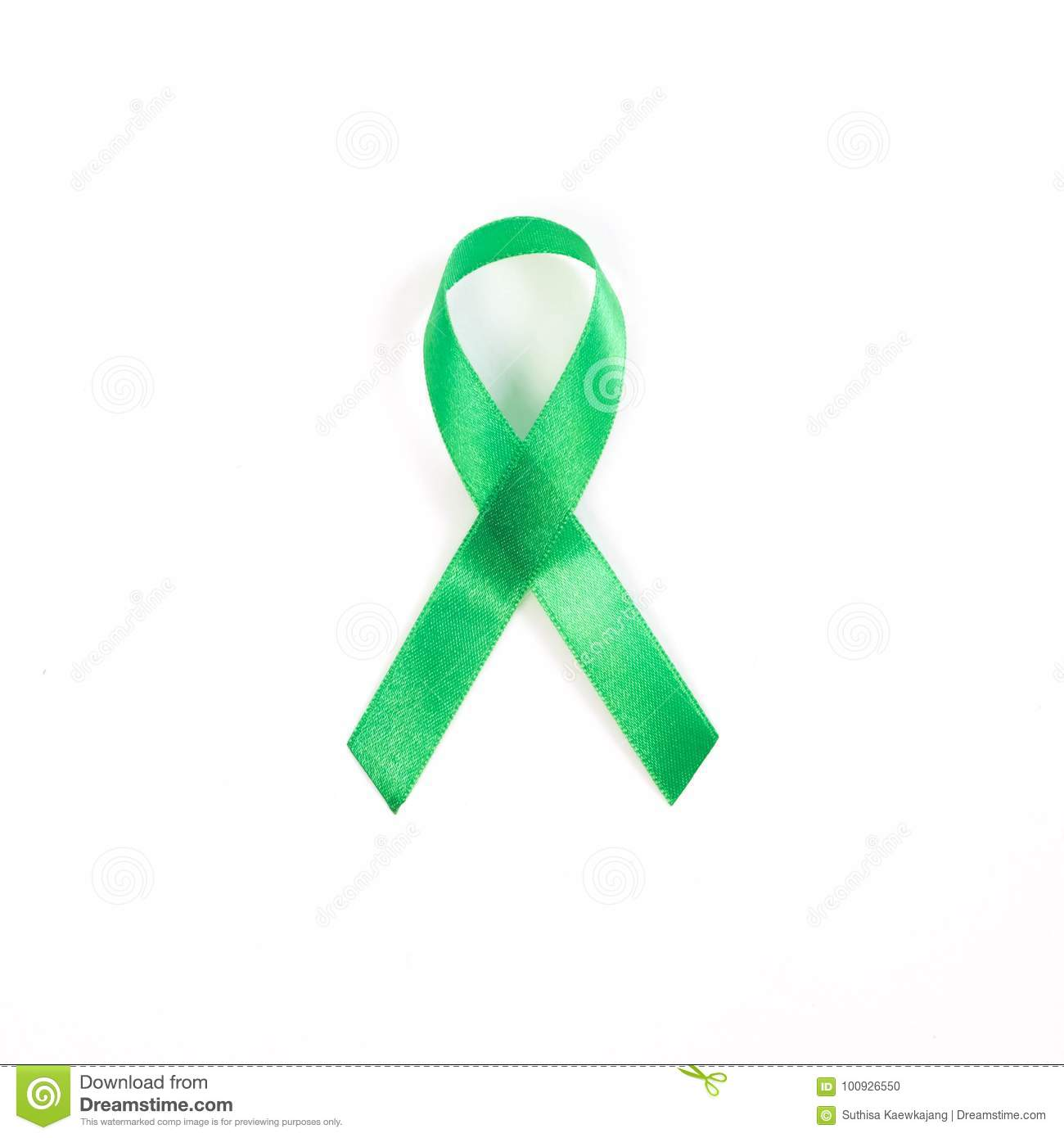 Kelly Green Ribbon A Symbol Of Kidney Cancer With Copy Space Stock