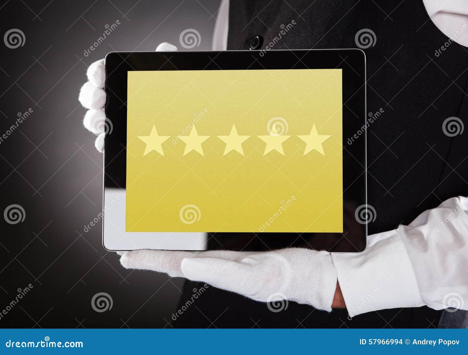 Kelner Showing Rating System op Digitale Tablet