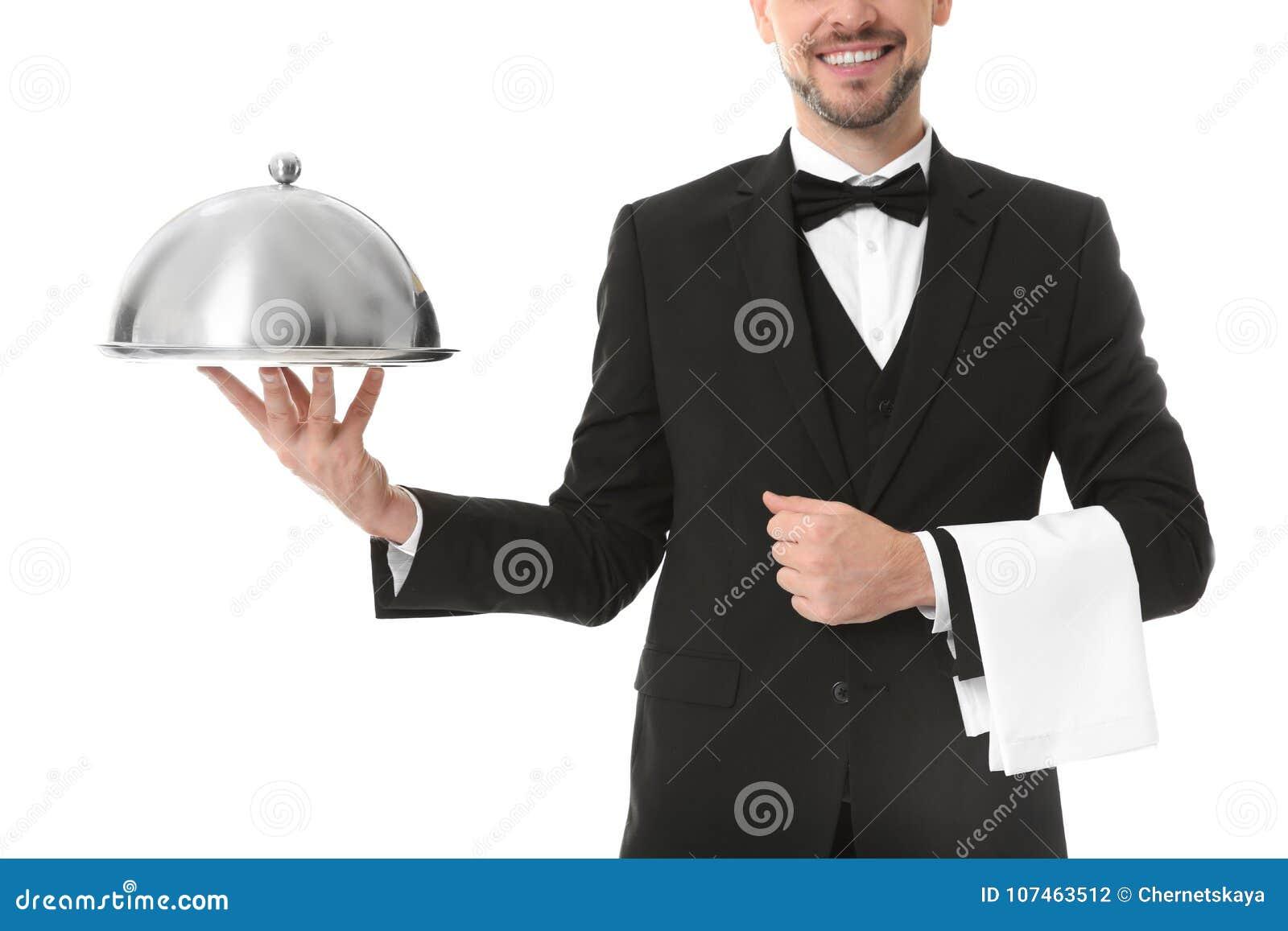 Kelner z metalu cloche i tacą