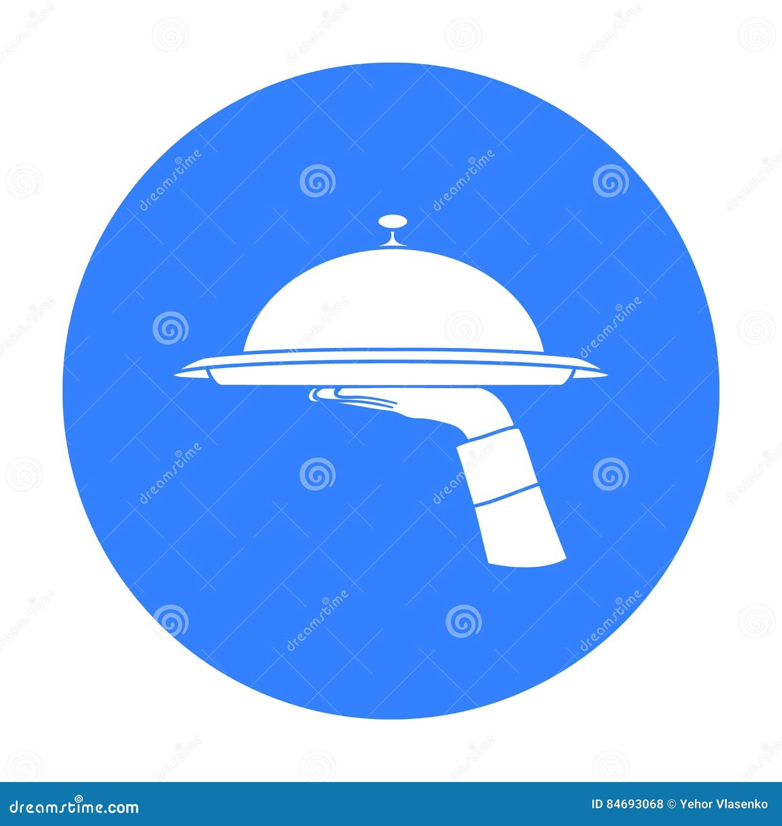 Kelnera ` s ręka trzyma tacę z cloche ikoną w czerń stylu odizolowywającym na białym tle Restauracyjny symbolu zapas