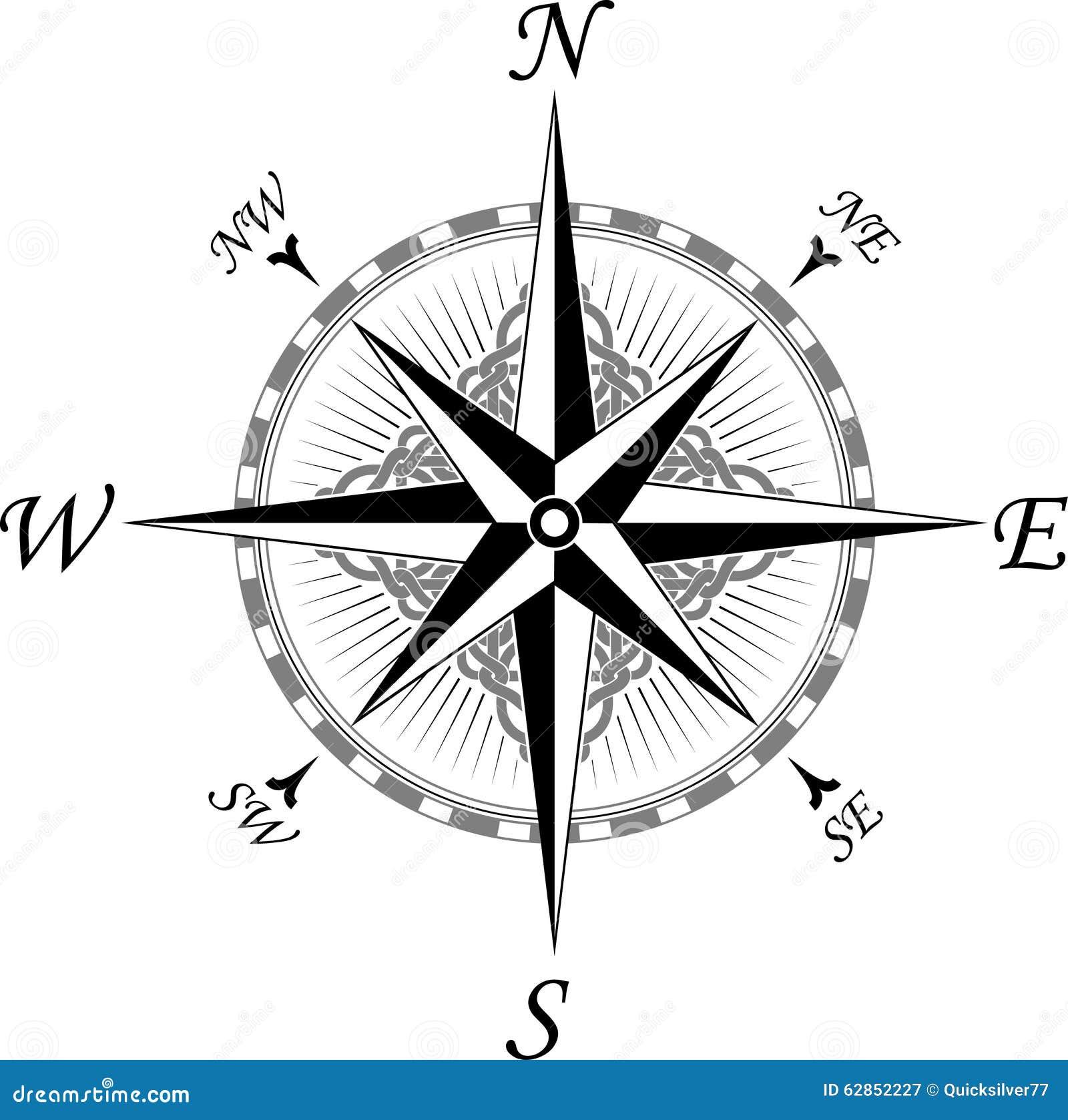 Decoratief Kompas In In Keltische Stijl Vector Illustratie