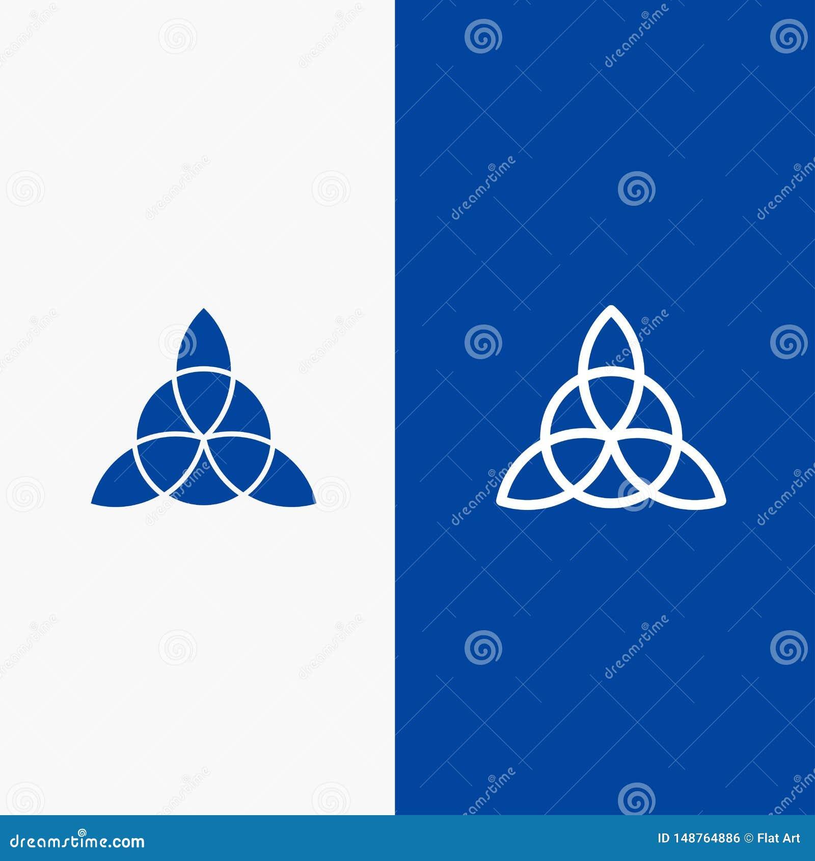 Keltische, Irlands, der Blumen-Linie und des Glyph fester Ikone der blauen Fahne Ikone Linie und Glyph festen blaue Fahne