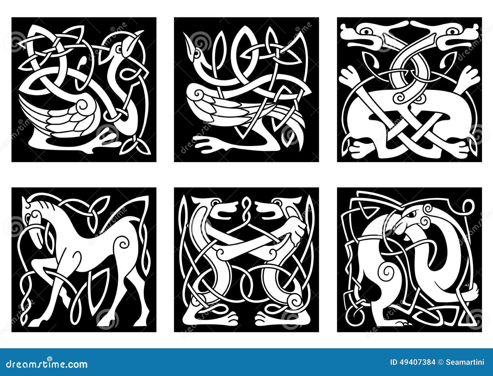 Download Keltische Verzierungen Mit Tieren Vektor Abbildung - Illustration von getrennt, dekorativ: 49407384