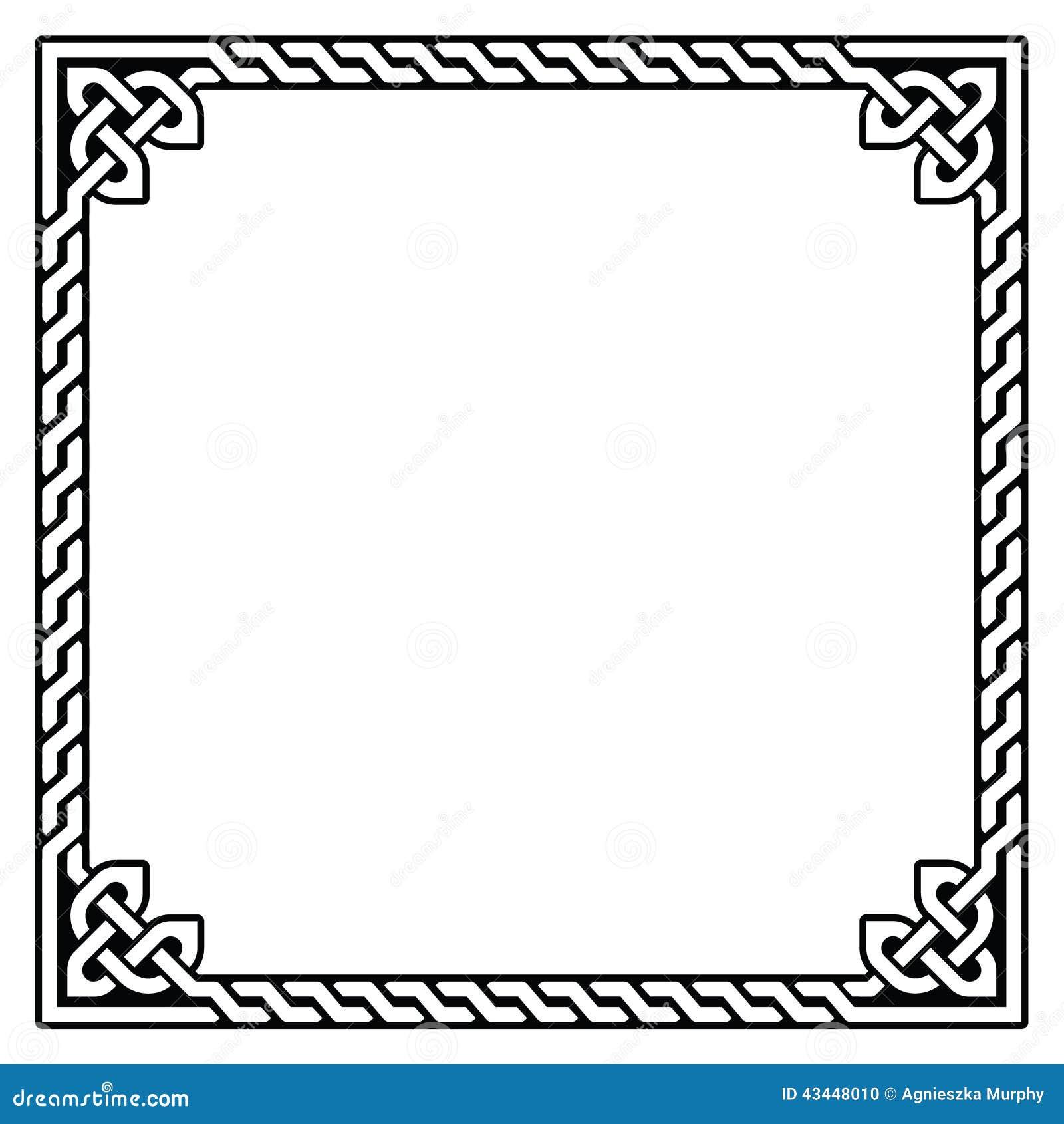 Iren  keltisches Muster des schwarzen Quadrats lokalisiert auf Wei  223  Simple Celtic Knot Square