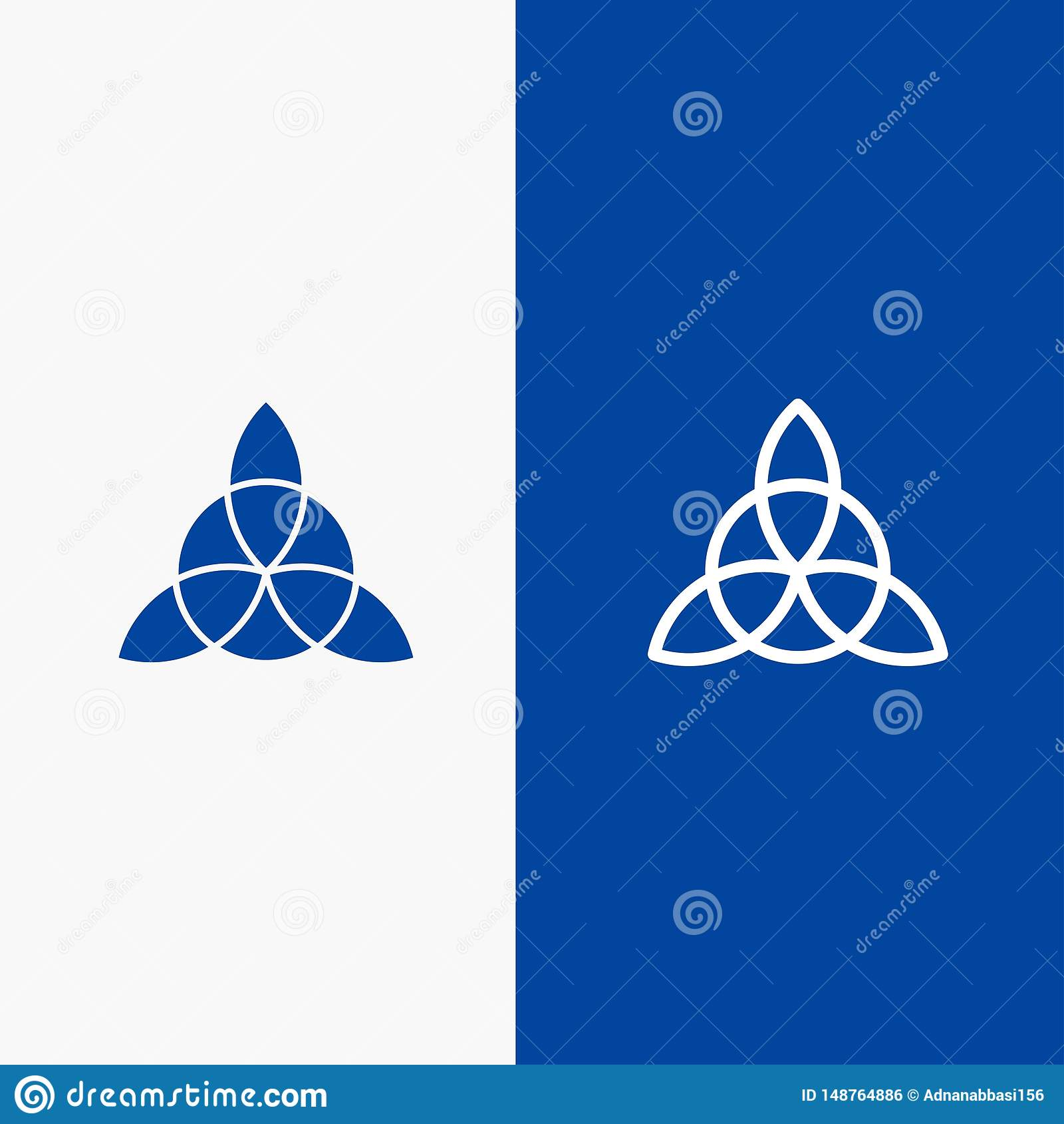 Keltisk, Irland, för blommalinje och för skåra för fast symbol för blå för baner symbol för linje och för skåra fast blått baner