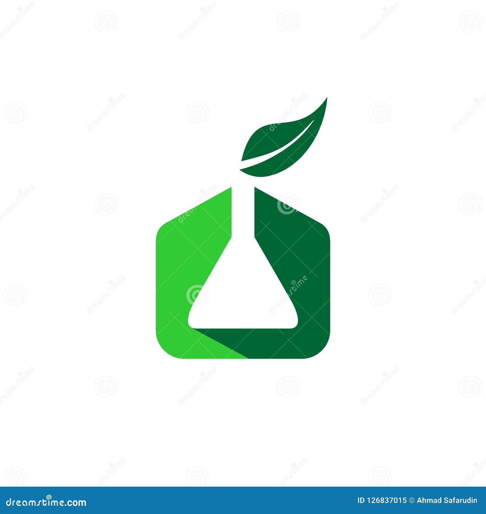 Kemi som är organisk med symbolen för kemikalie- och bladsymbollogo