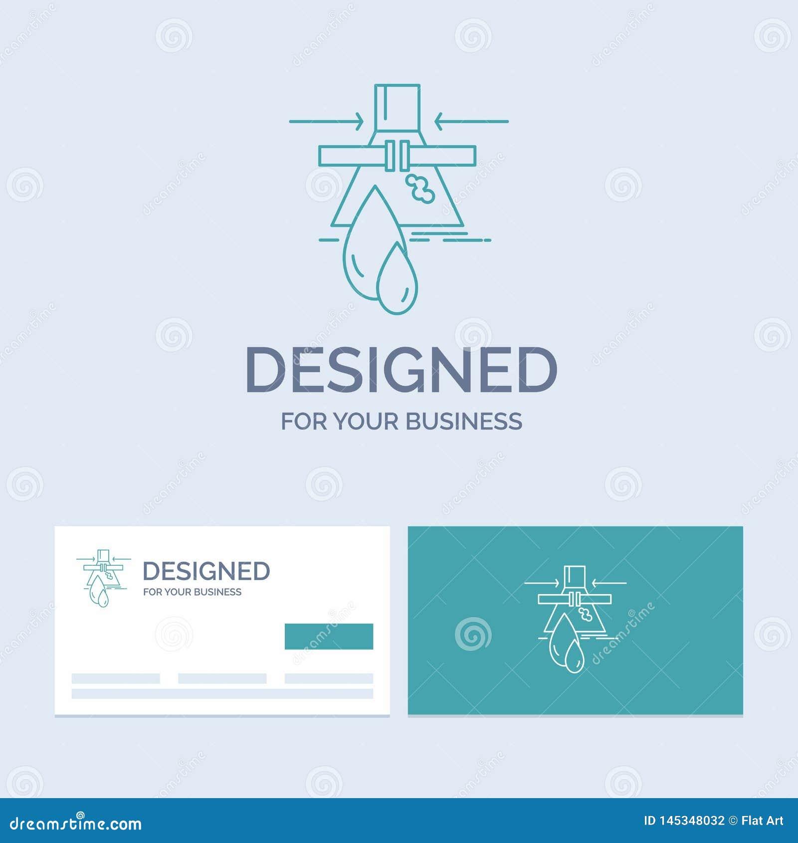 Kemikalie läcka, upptäckt, fabrik, föroreningaffär Logo Line Icon Symbol för din affär Turkosaff?rskort med