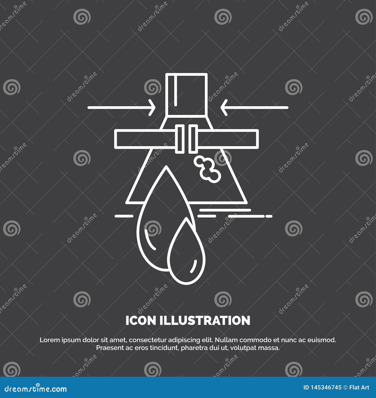 Kemikalie l?cka, uppt?ckt, fabrik, f?roreningsymbol Linje vektorsymbol f?r UI och UX, website eller mobil applikation