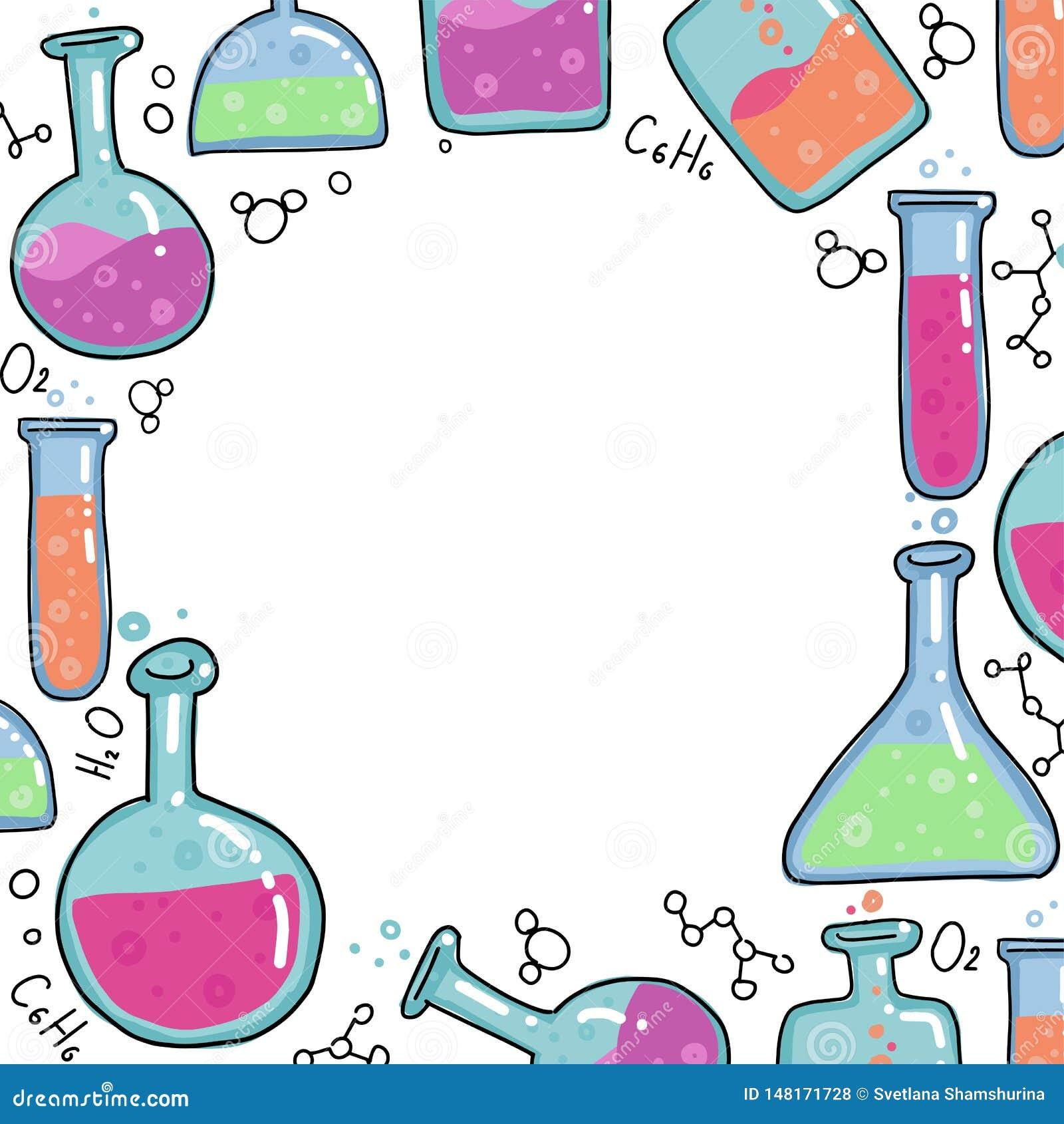 Kemiprovrörvektor som skisseras för att skissa den runda ramen Ungeutbildningsillustration i den tunna linjen färgklotterstil Upp
