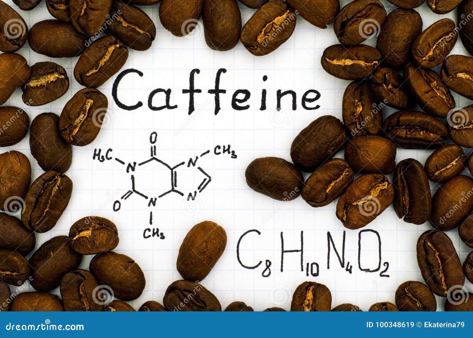 Kemisk formel av koffein med kaffebönor