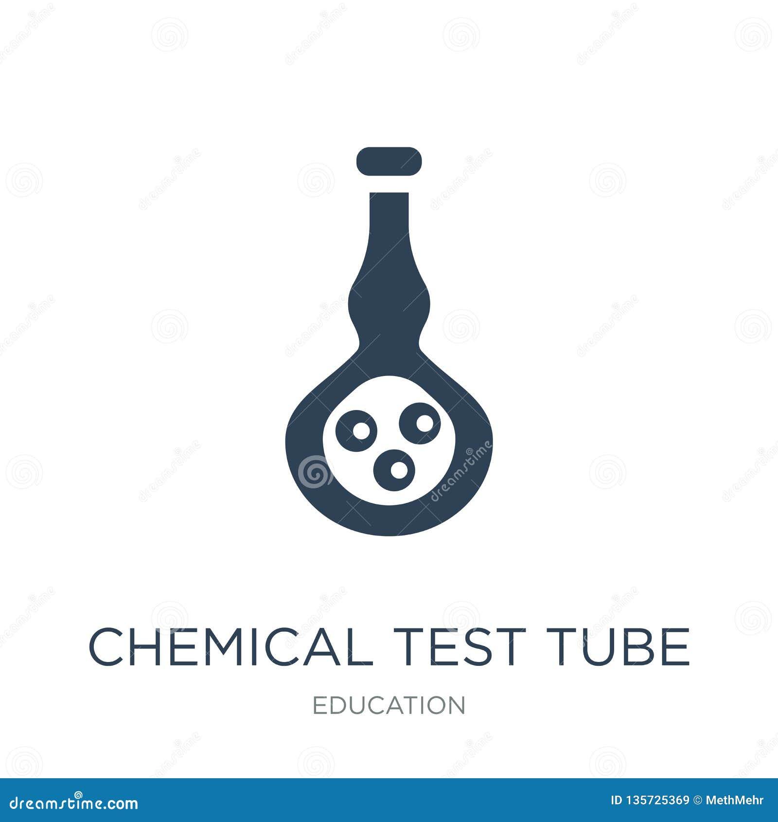 Kemisk provrörsymbol i moderiktig designstil kemisk provrörsymbol som isoleras på vit bakgrund kemisk provrörvektor