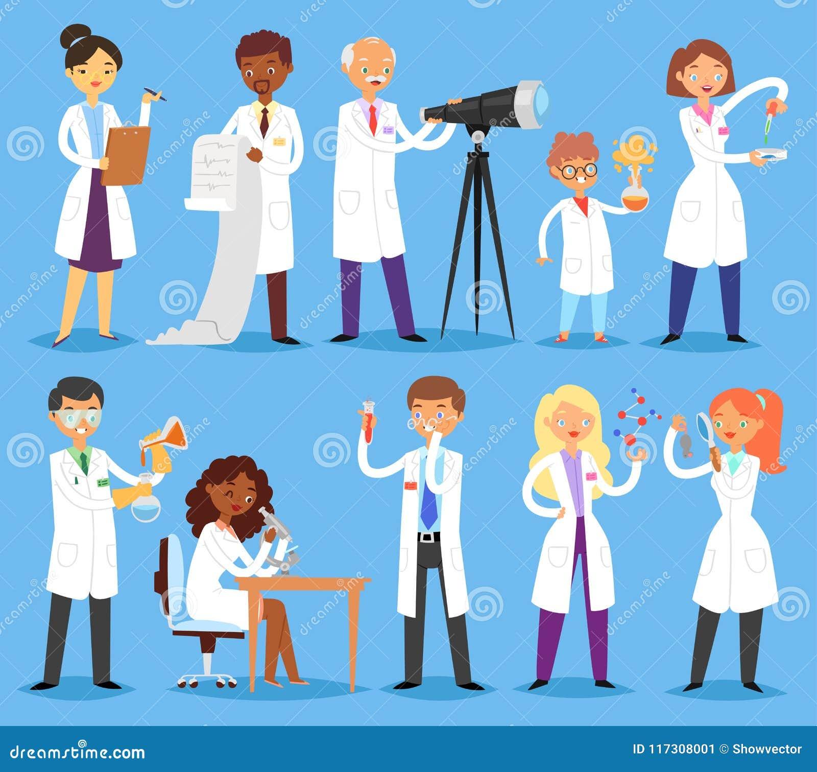 Kemist eller doktor för tecken för folk för forskarevektor som yrkesmässig forskar medicinskt experiment i vetenskapligt laborato