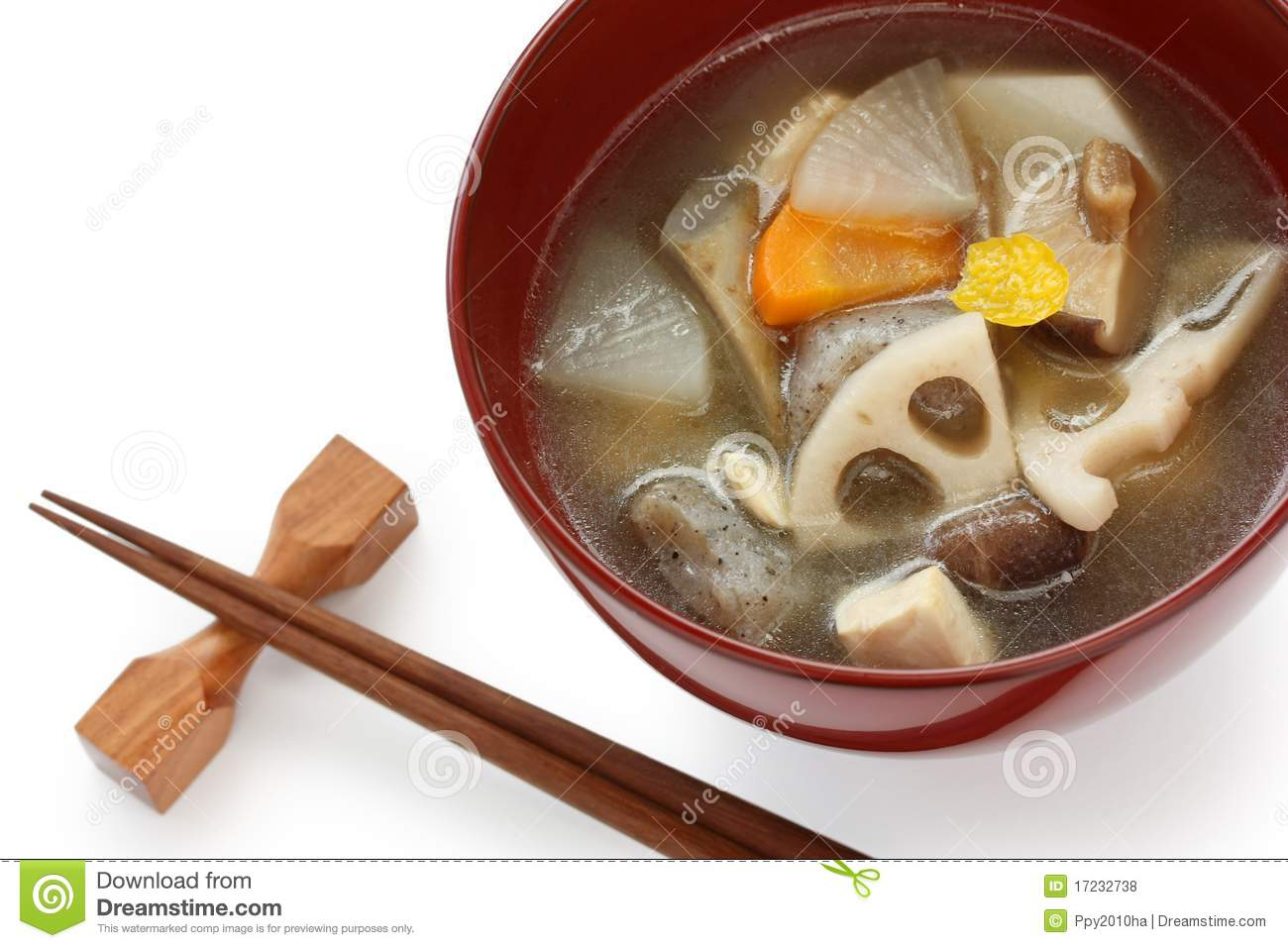 Kenchinjiru , vegetable soup , japanese zen food , on white background ...