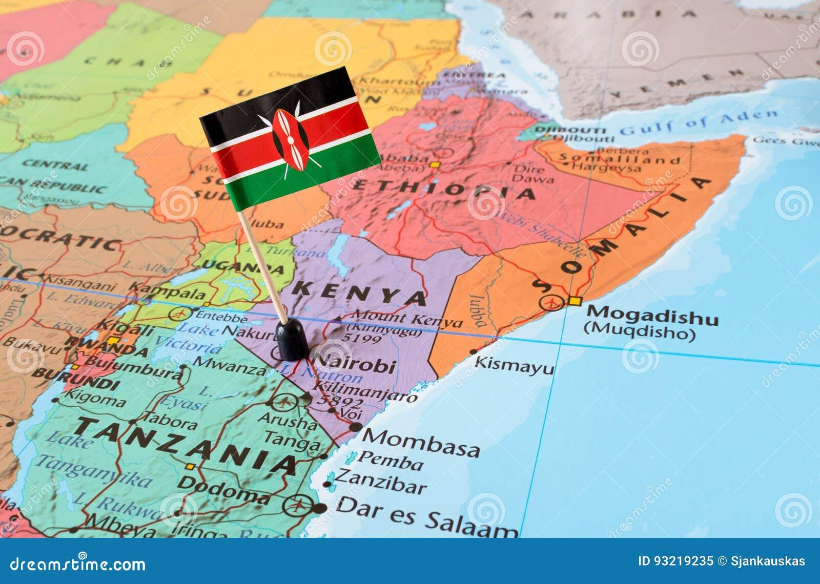Kenia Karte.Kenia Karte Und Flaggenstift Stockbild Bild Von Bereich Exotisch