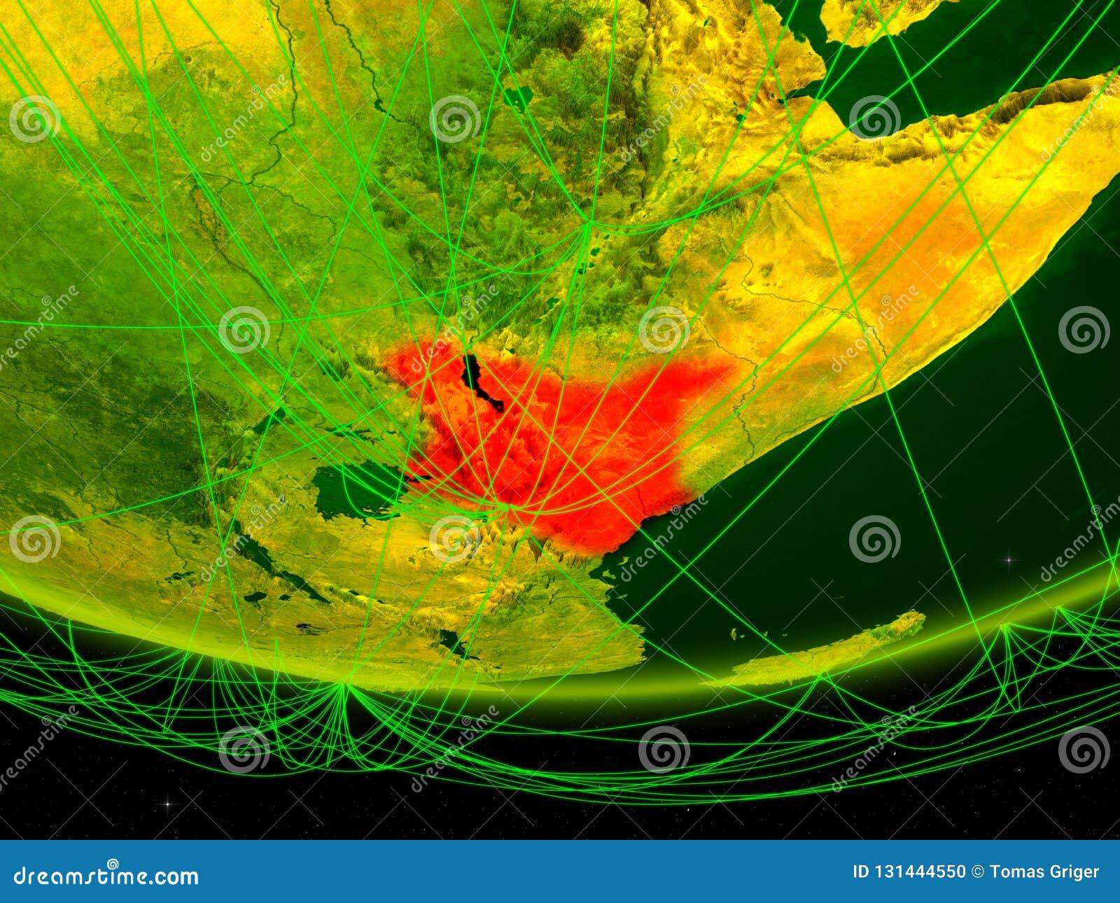 Kenia op groen model van aarde met netwerk die digitaal tijdperk, reis en mededeling vertegenwoordigen 3D Illustratie Elementen v