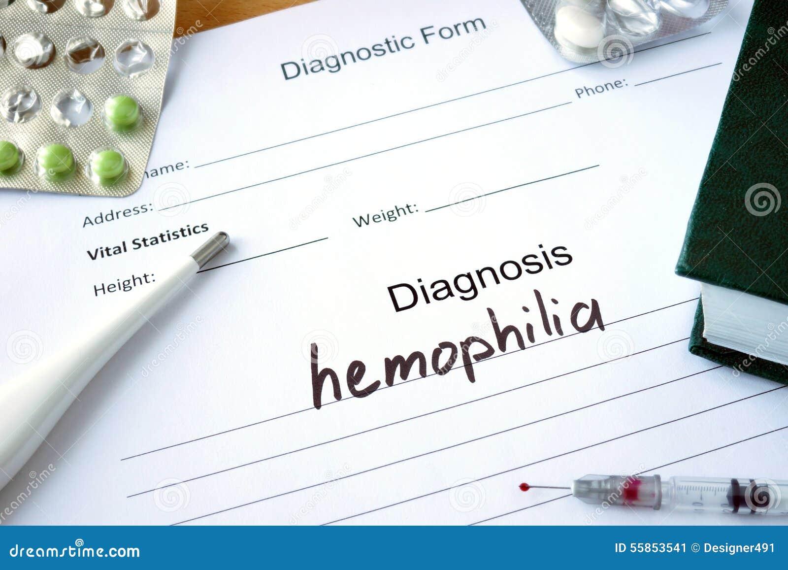 Kenmerkende vorm met Diagnosehemofilie