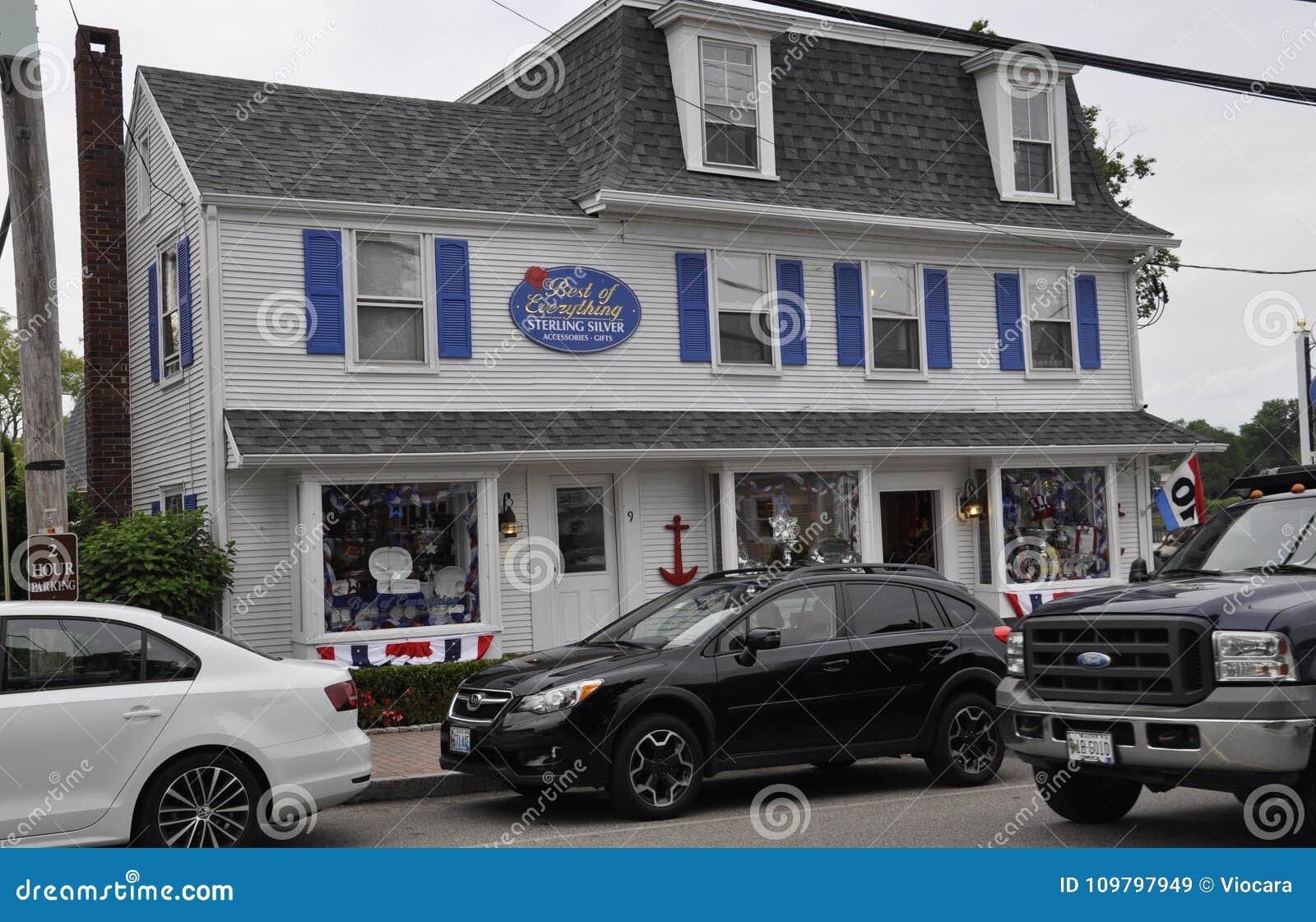 Kennebunkport Maine, 30th Juni: I stadens centrum historiskt hus från Kennebunkport i det Maine tillståndet av USA