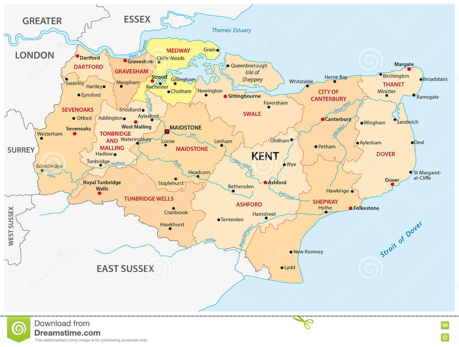 Map Of England Kent.Kent County Administrative Map Stock Illustration Illustration Of