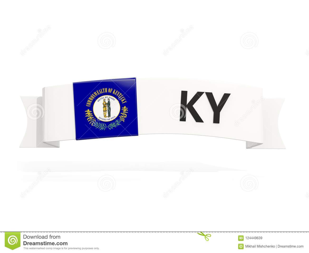 Download Kentucky State Flag On Banner With Postal Abbreviation Isolated Stock Illustration