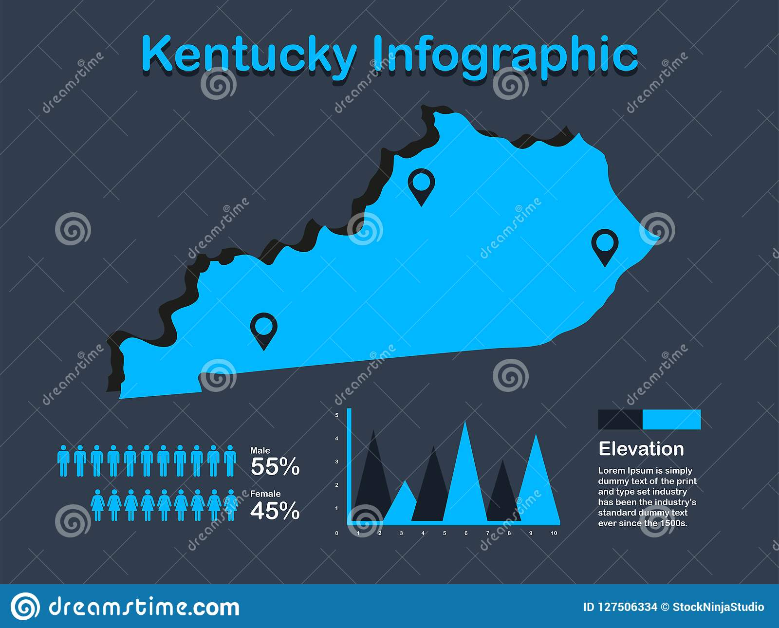Kentucky On Usa Map.Kentucky State Usa Map With Set Of Infographic Elements In Blue