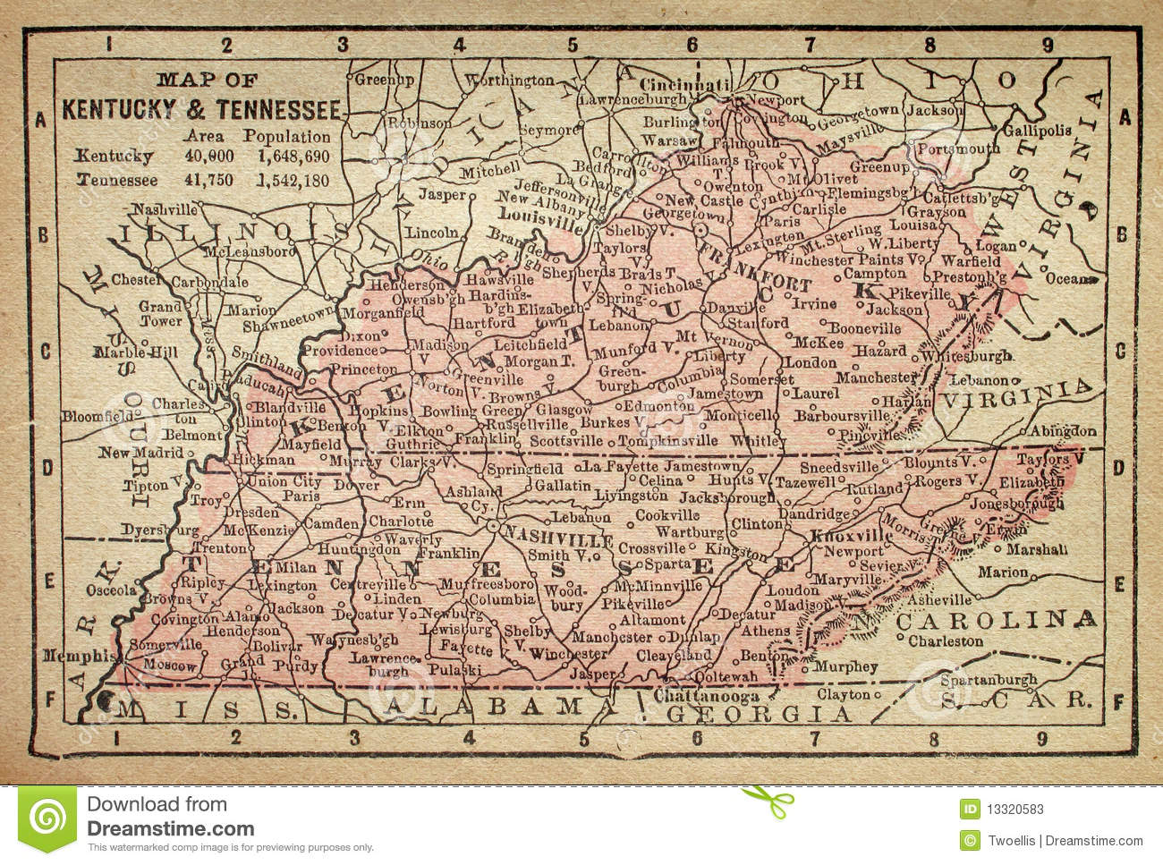 kentucky and tennessee map stock photos image