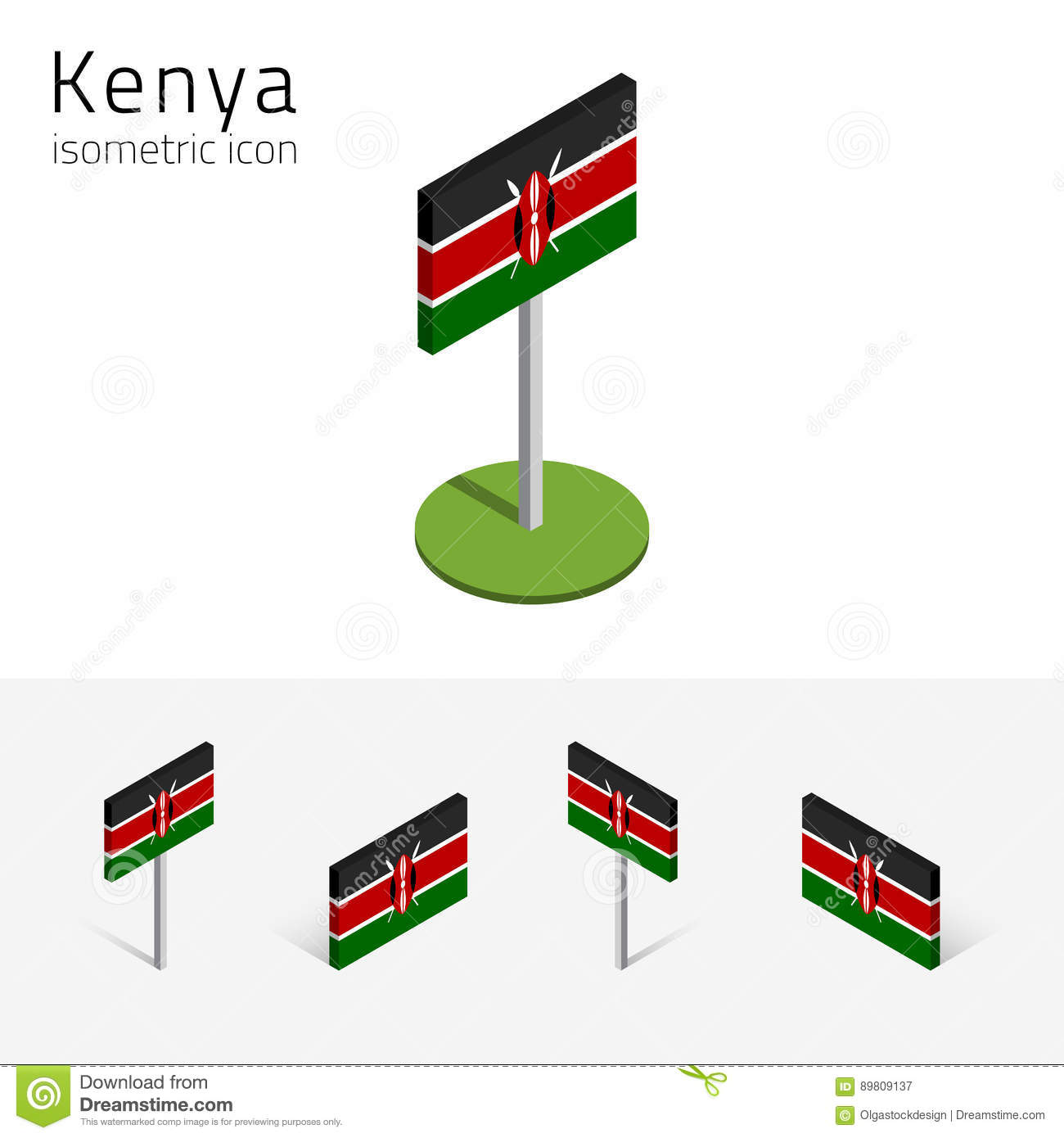 Kenya Flag, Vector 3D Isometric Flat Icons Stock Vector