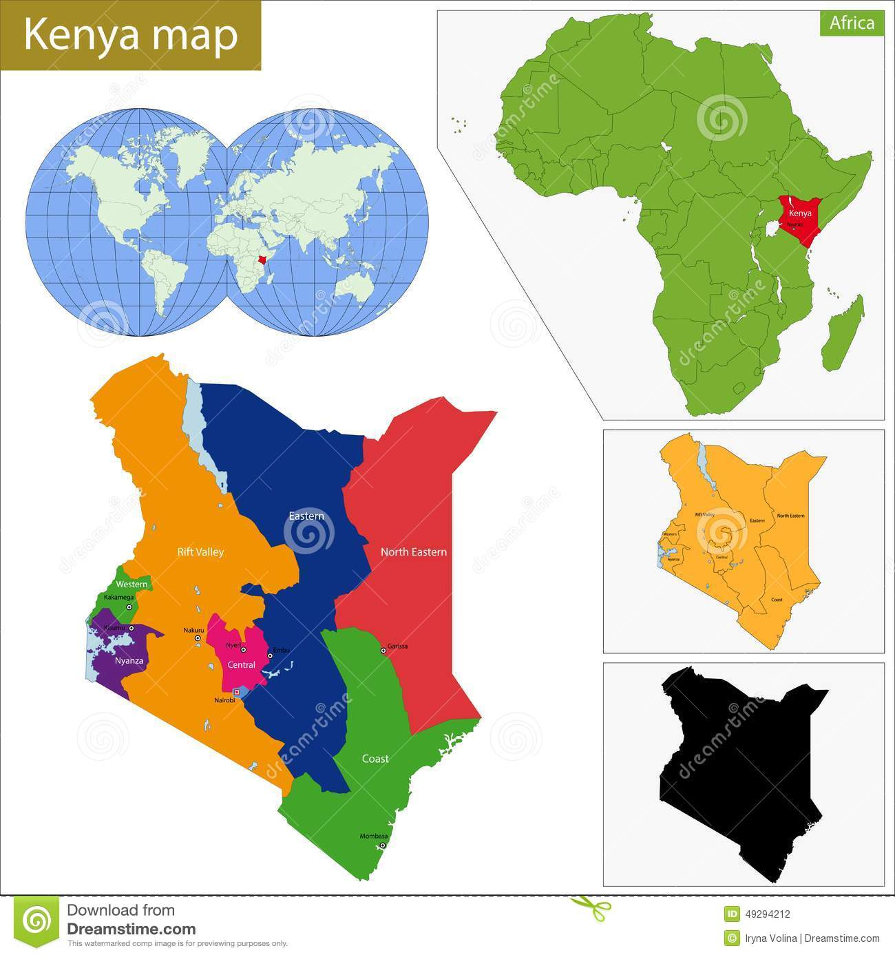 Kenya Map Stock Vector