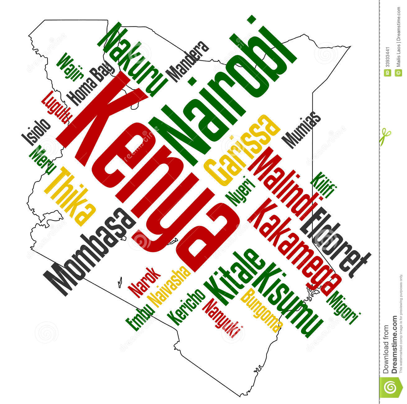 Download Kenya map and cities stock vector. Illustration of word - 33933441